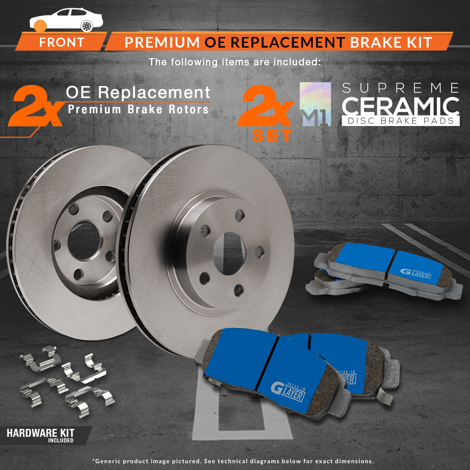 2008 2009 2010 2011 Mazda 3 2.0L OE Replacement Rotors M1 Ceramic Pads F