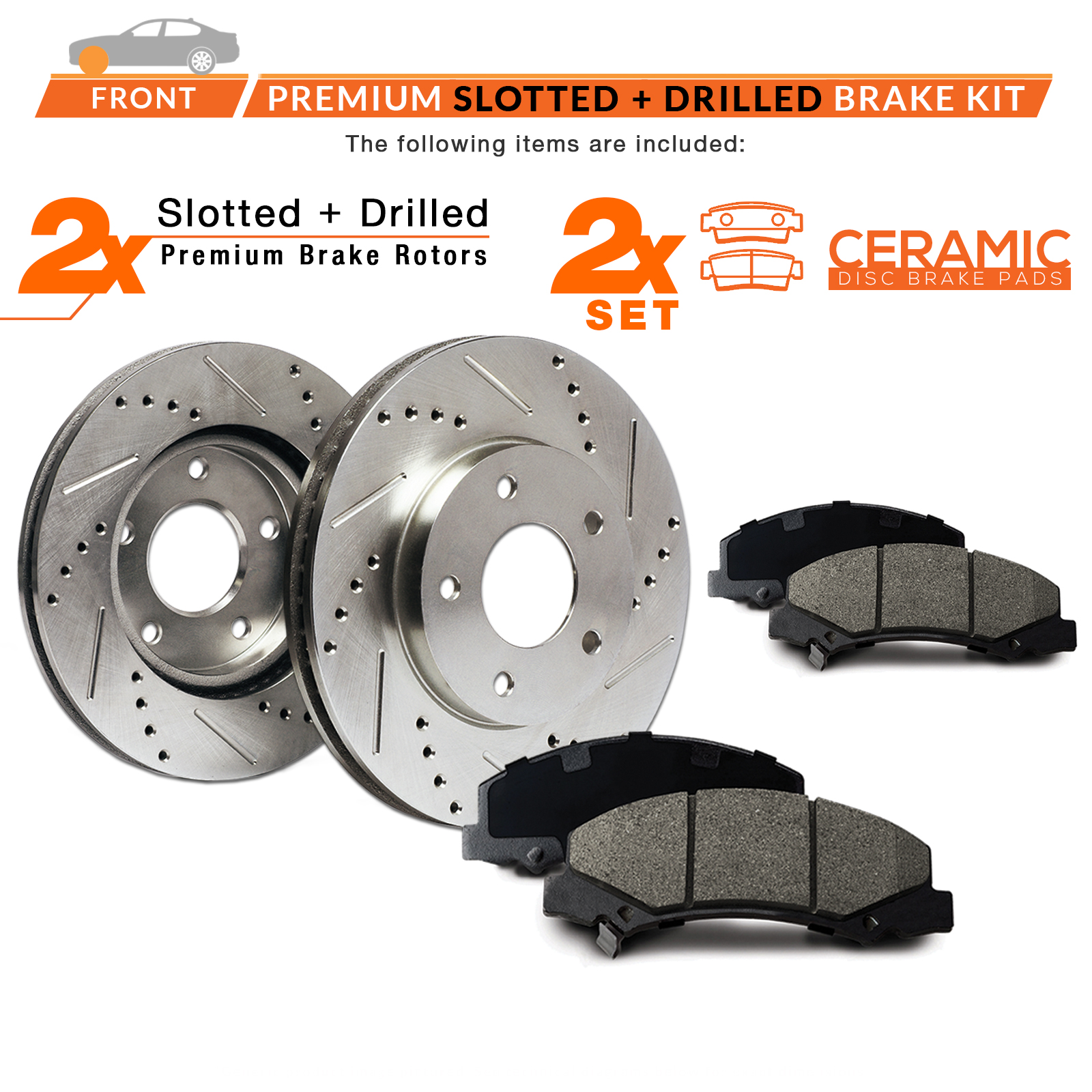 2007 2008 2009 2010 Fit Jeep Compass Slotted Drilled Rotor w//Ceramic Pads F