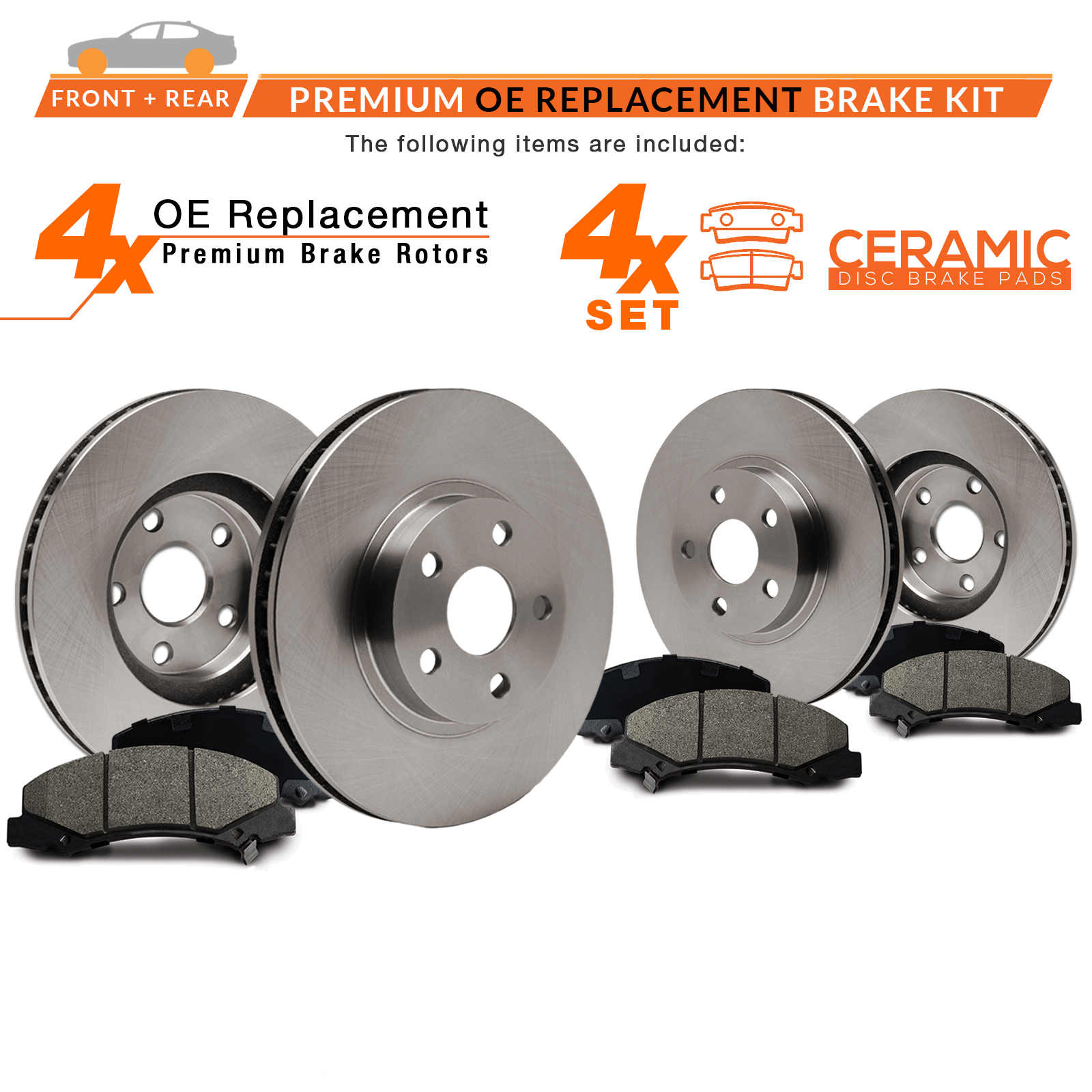 04 05 06 07 Sienna See Desc. OE Replacement Rotors w//Ceramic Pads F+R