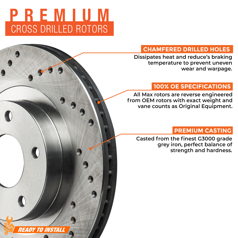 2011-2016 LaCrosse Regal Rotors w//Ceramic Pads Drilled Brakes Front