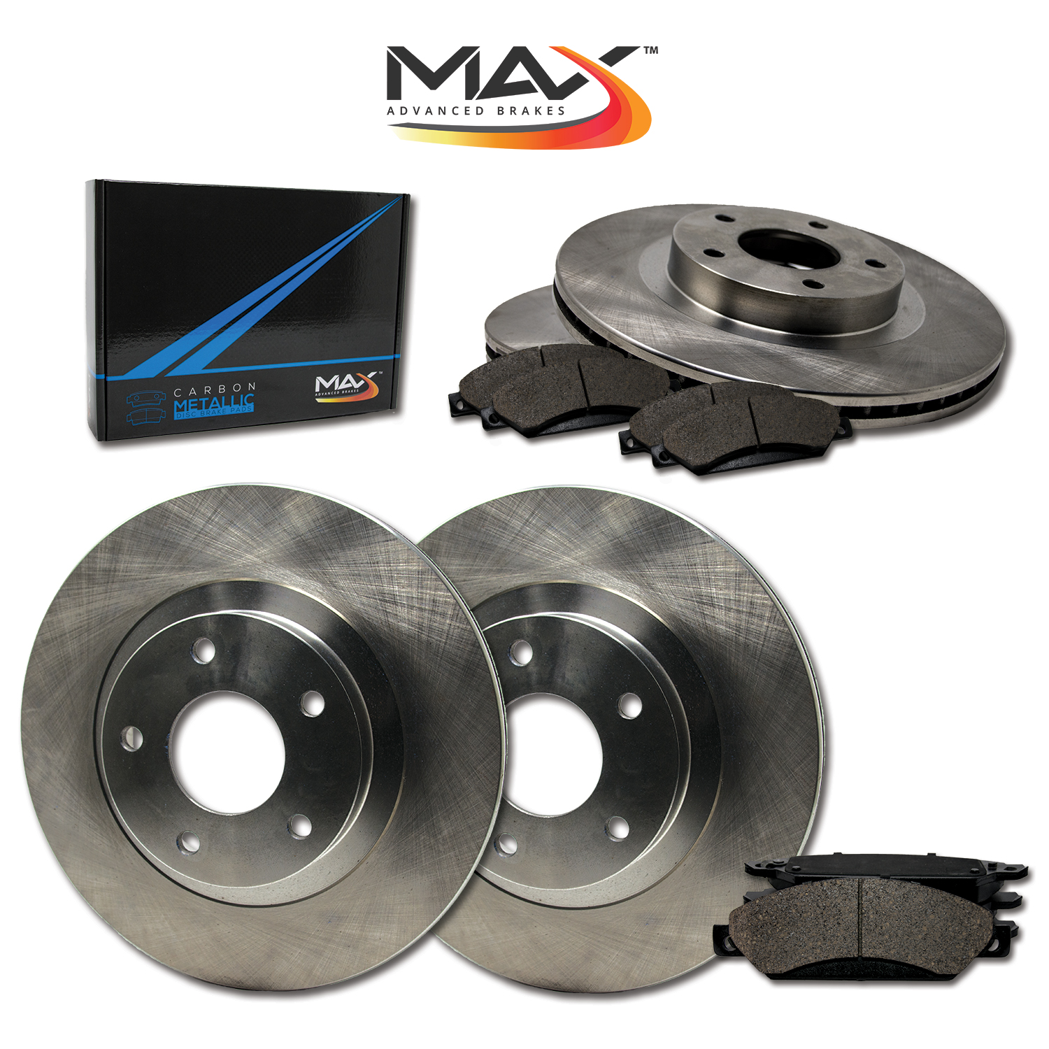 97 Fit Dodge Avenger w//Rear Discs OE Replacement Rotors w//Metallic Pads F+R