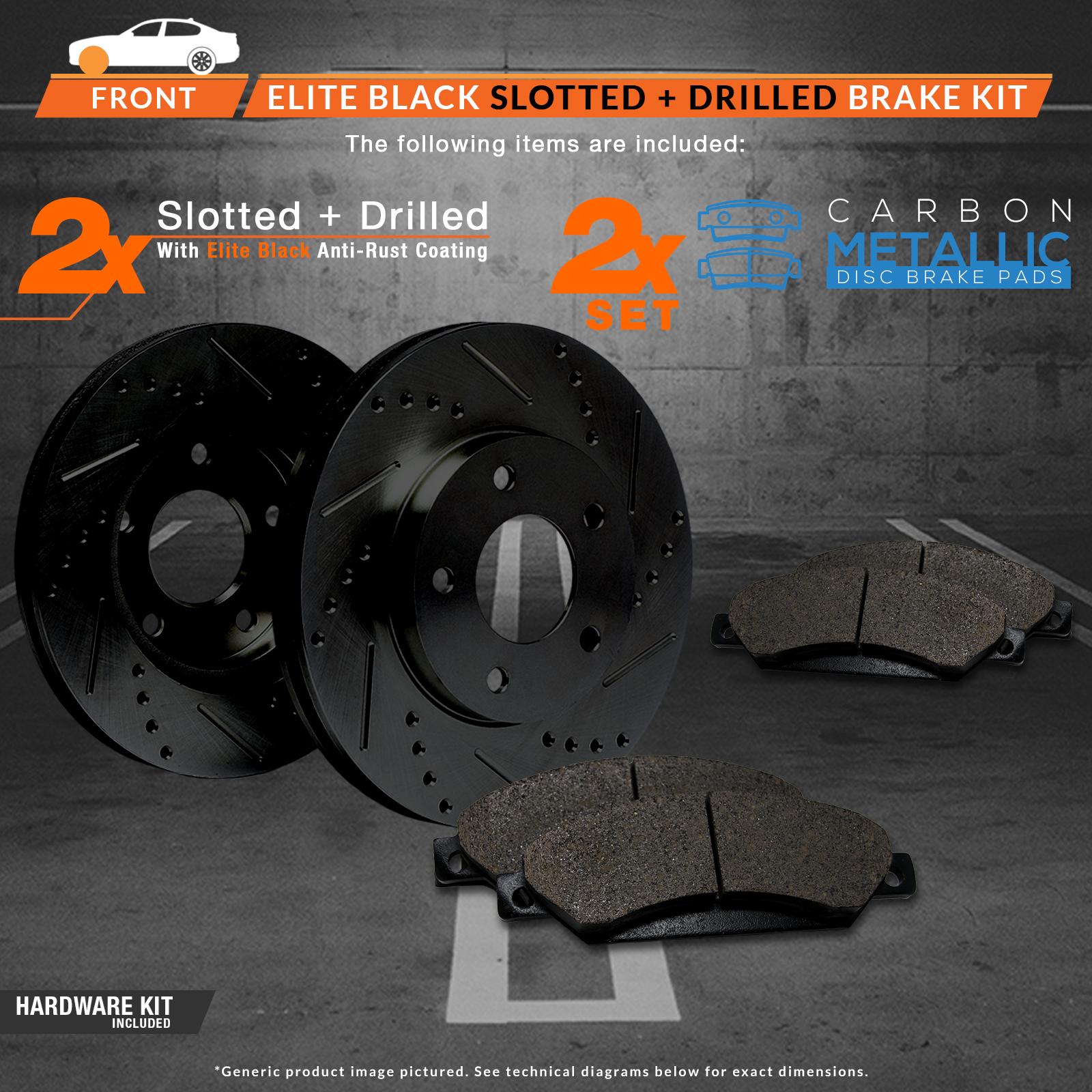 2009 2010 2011 Fits Nissan Maxima Black Slot Drill Rotors Metallic Pads F