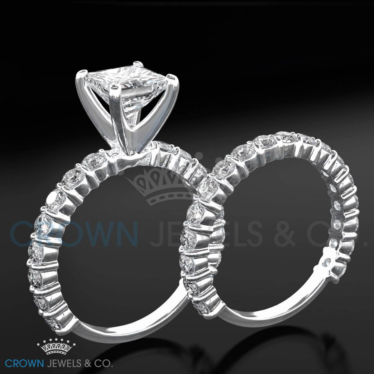 Eternity Ring Wedding Set: Diamond Engagement Ring Half Eternity Wedding Band Set 3