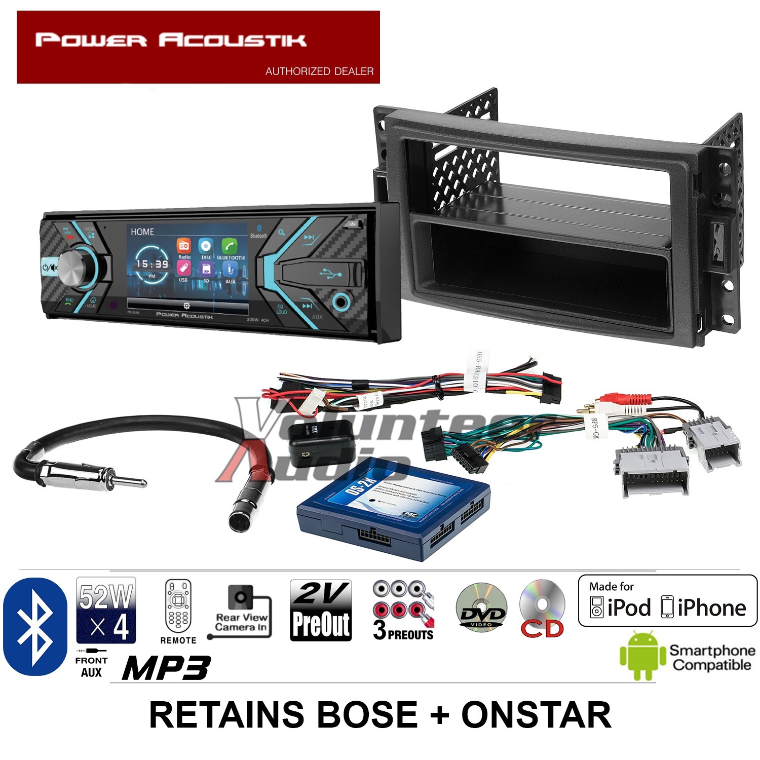 Power Acoustik Single Din 3 4 U0026quot  Lcd Dvd Bluetooth Radio Usb Install Kit Harness