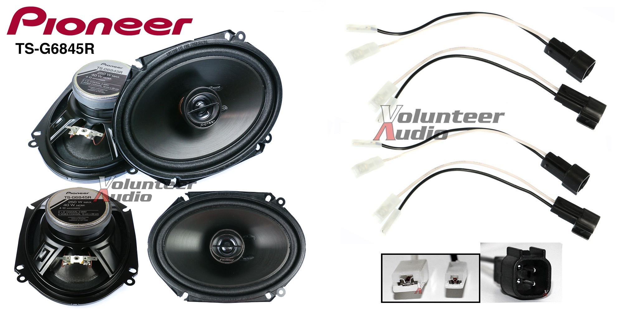 pioneer ts g6845r 6x8 speakers with wiring harness fits ford 2 pairs 40watt rms ebay