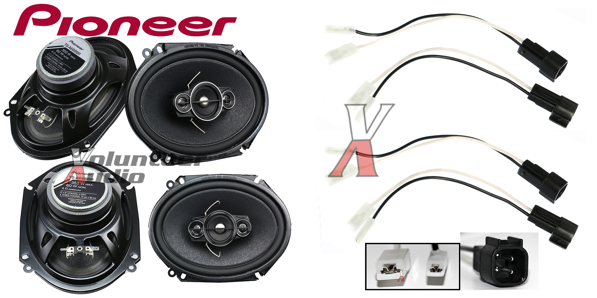pioneer ts a6886r 6x8 speakers with wiring harness fits ford 2 pairs 60watt rms ebay