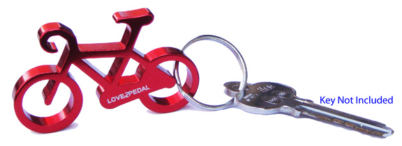 free shipping bicycle keychain bottle opener red aluminum u s seller ebay. Black Bedroom Furniture Sets. Home Design Ideas
