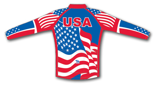 USA Flag Cycling Jersey long sleeves