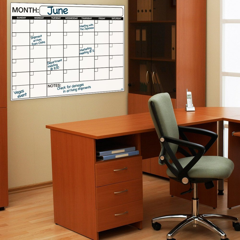 Office Calendar Wall : Large dry or wet erase laminated monthly wall calendar