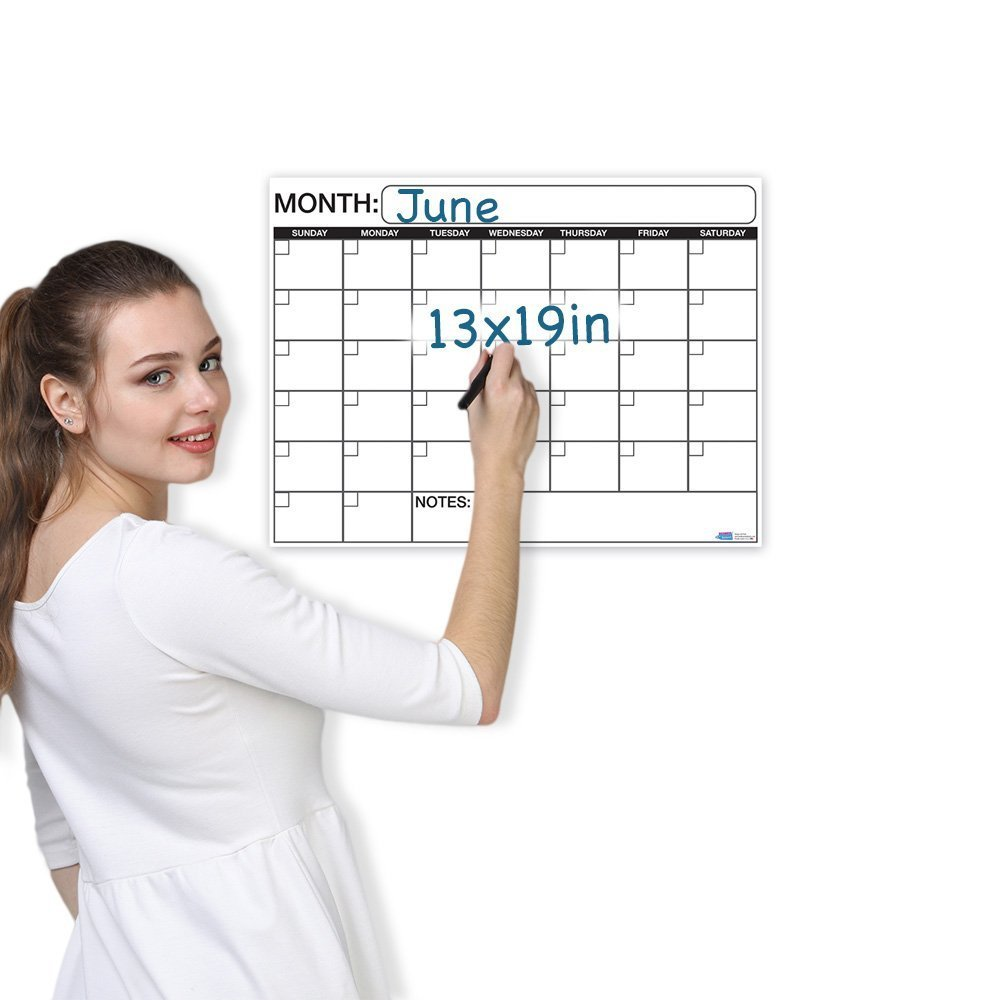 Large Calendar Planner : Large dry or wet erase laminated monthly wall calendar
