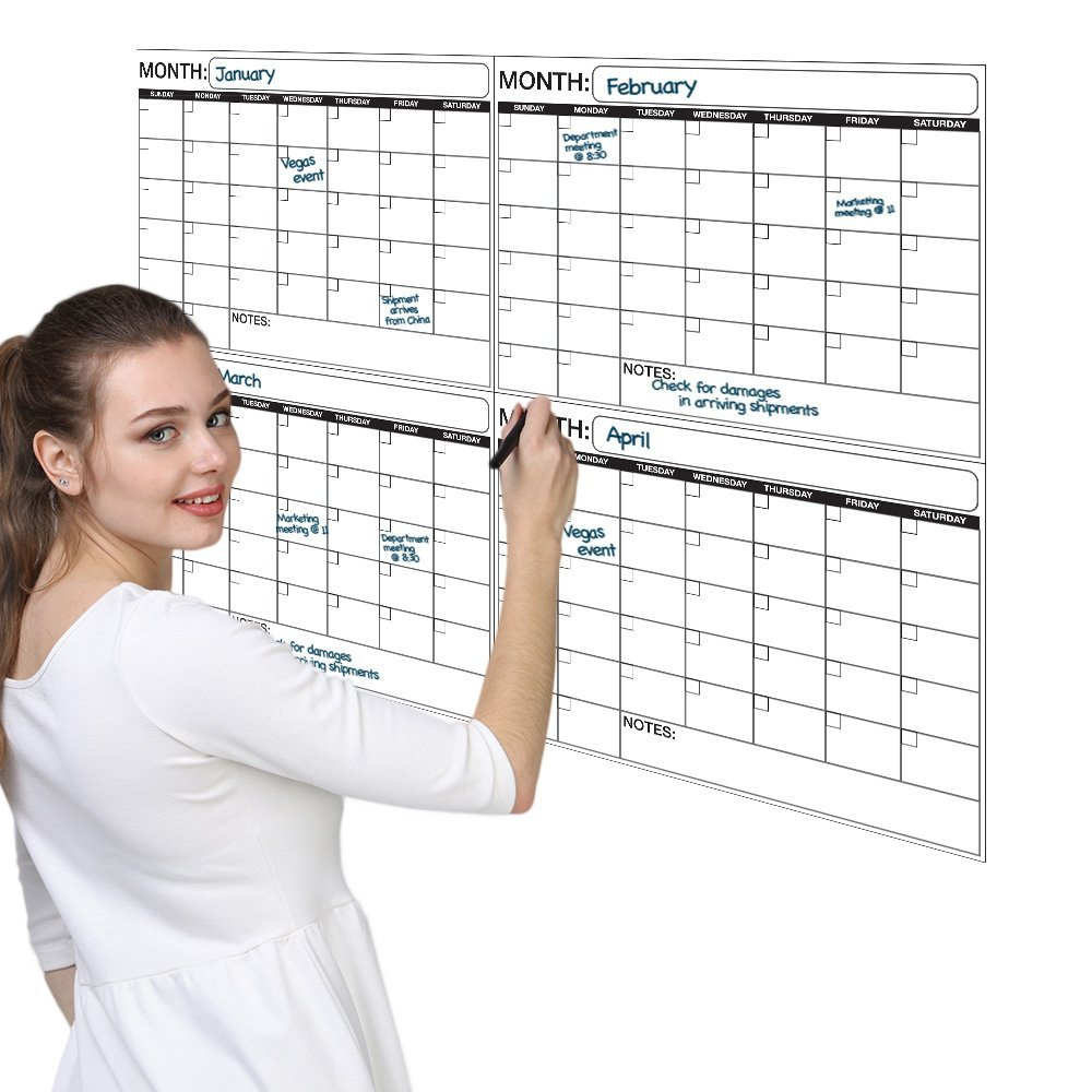 Large Calendar Planner : Laminated wet or dry erase quarterly wall calendar planner