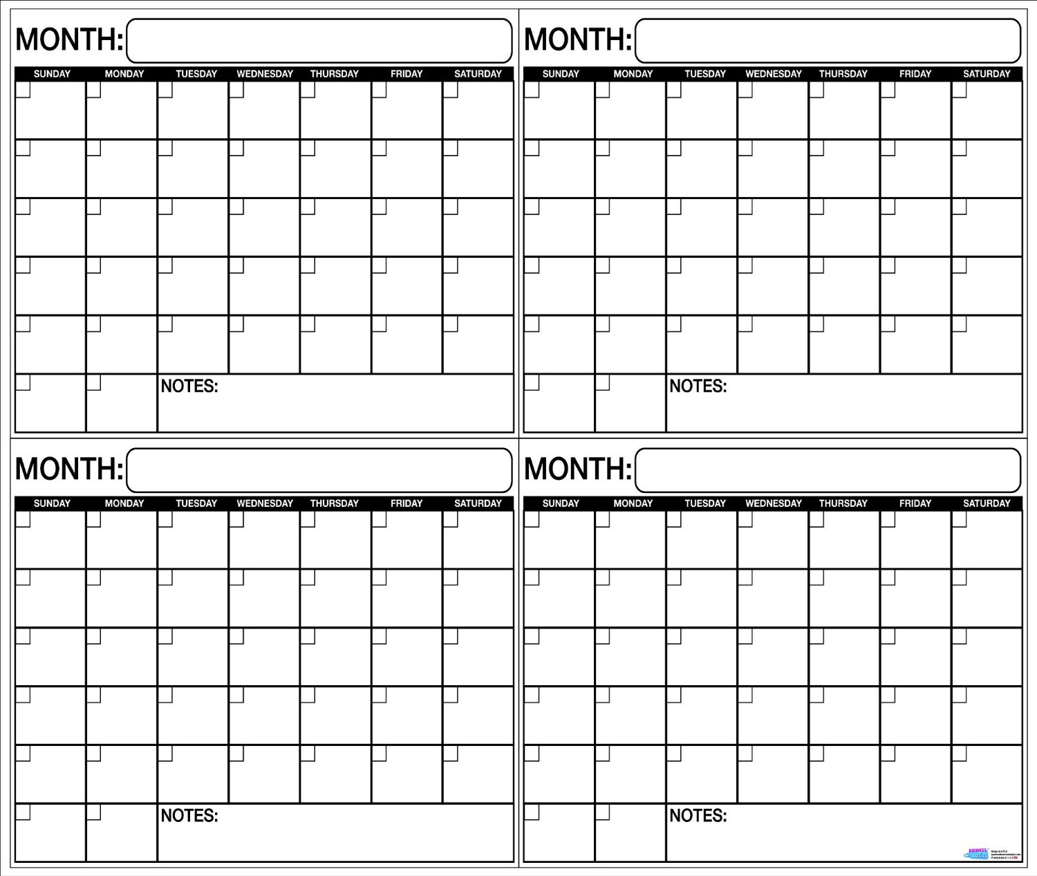 Large Calendar Planner : Laminated wet or dry erase quarterly wall calendar planner
