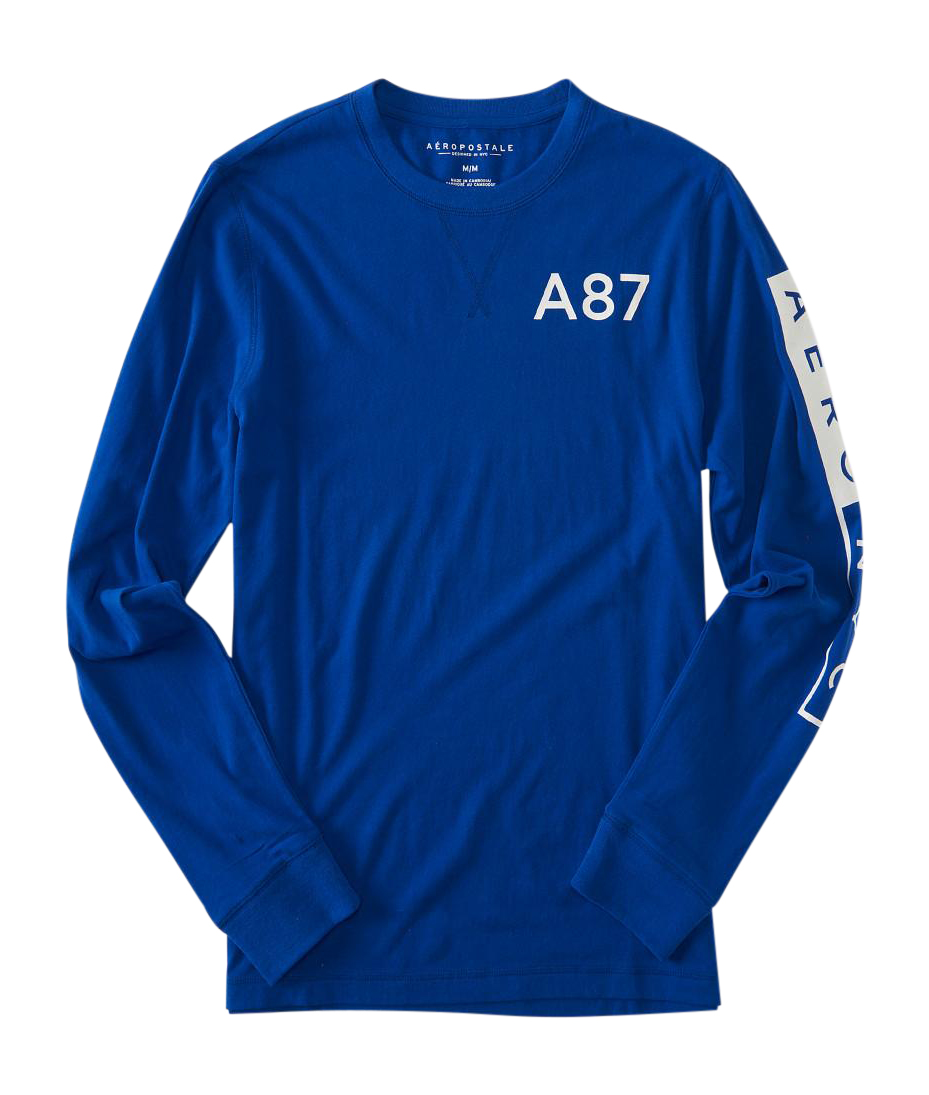 Aeropostale Mens Long Sleeve A87 Graphic T Shirt Ebay