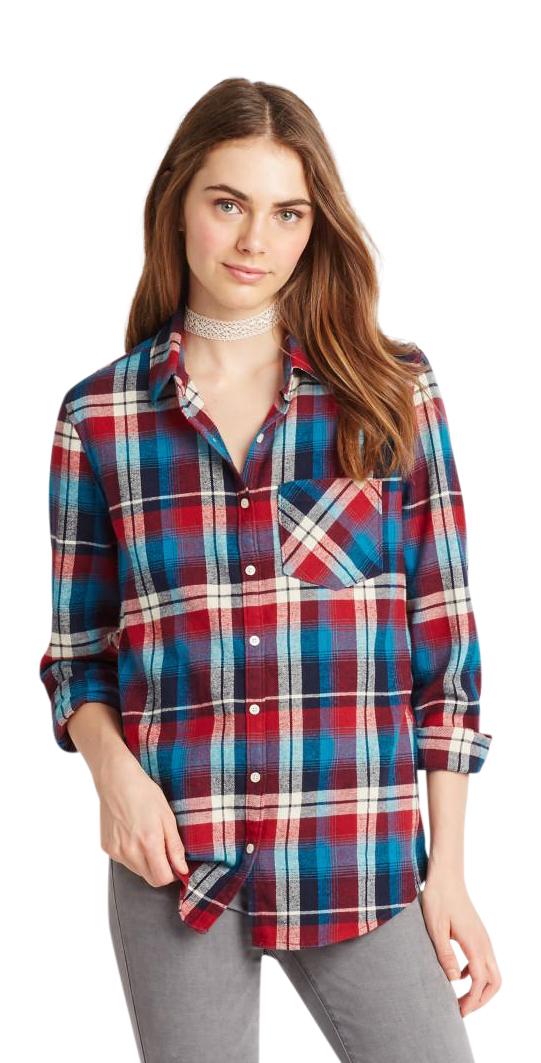 Aeropostale womens long sleeve dark plaid flannel woven for 9 oz flannel shirt