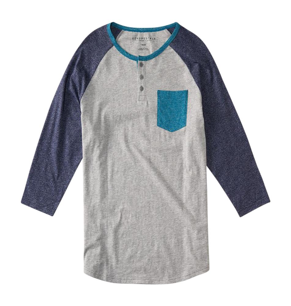 Aeropostale mens 3 4 sleeve colorblock pocket henley shirt for 3 4 henley shirt