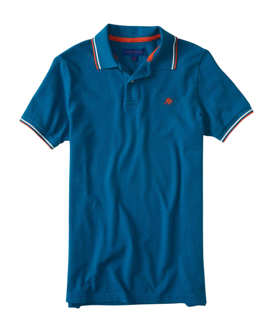 aeropostale mens a87 double-tipped pique polo shirt