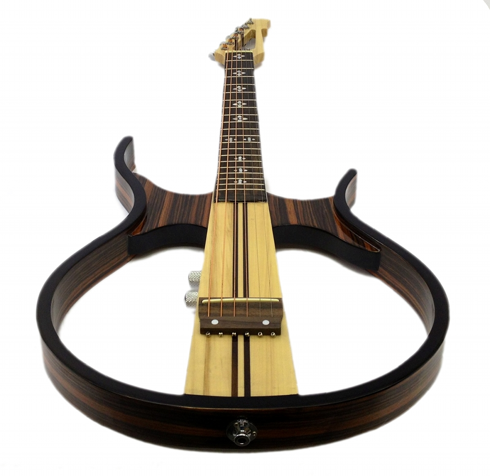 silent electric guitar sandalwood hollow body acoustic headphones included ebay. Black Bedroom Furniture Sets. Home Design Ideas