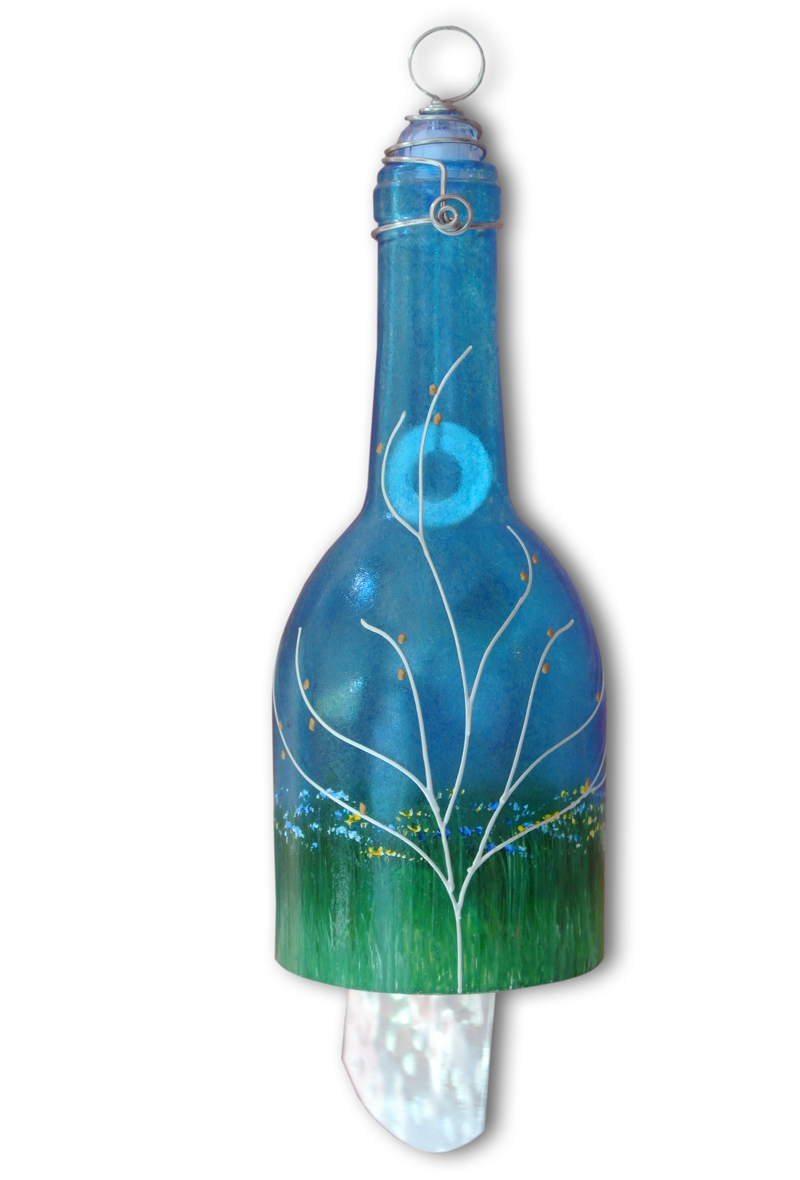 and 2 Keys Wine Bottle Wind Chime Blue 3 Ring With Dragonflies