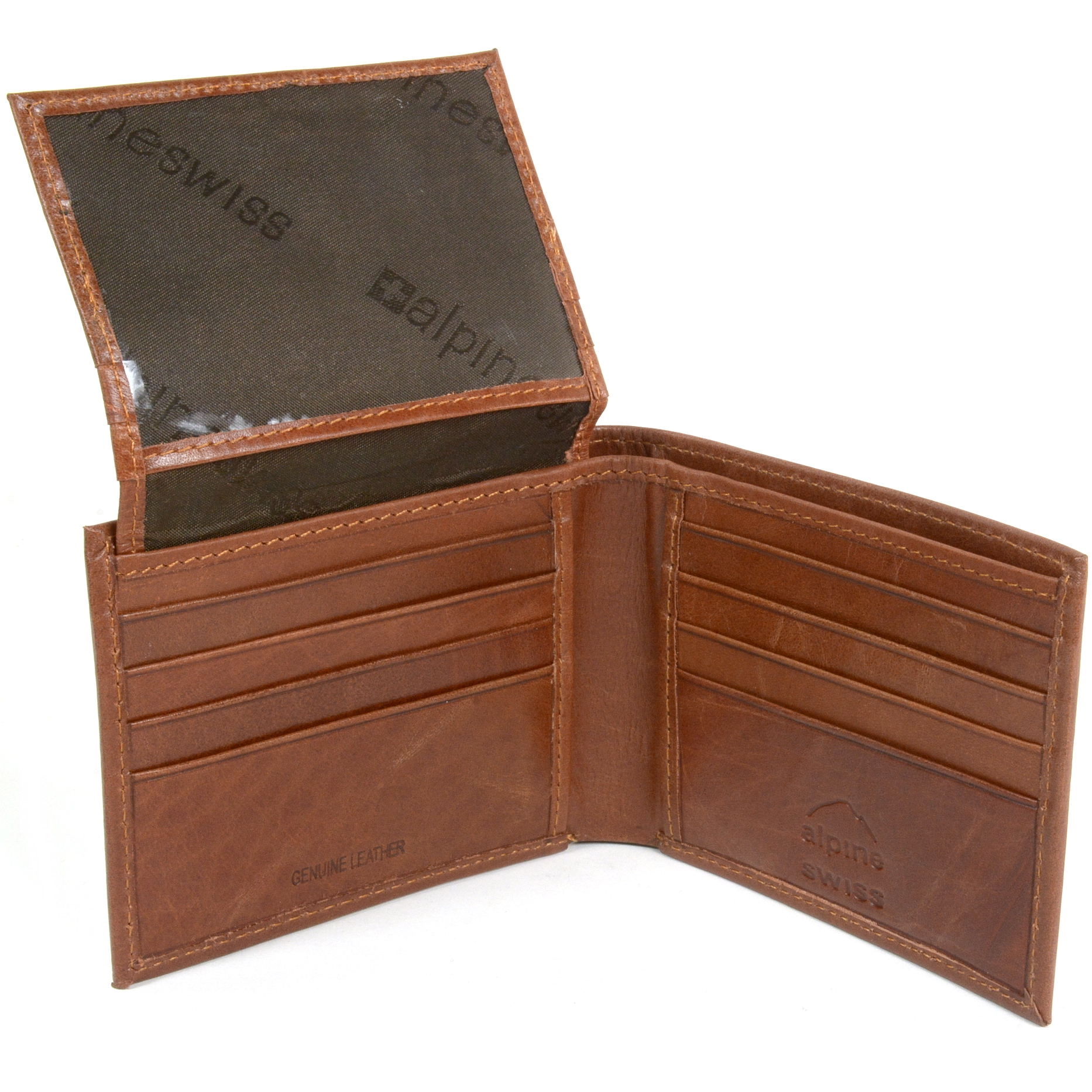 RFID-SAFE-Alpine-Swiss-Mens-Deluxe-Wallet-Genuine-Leather-14-Pocket-ID-Bifold thumbnail 23