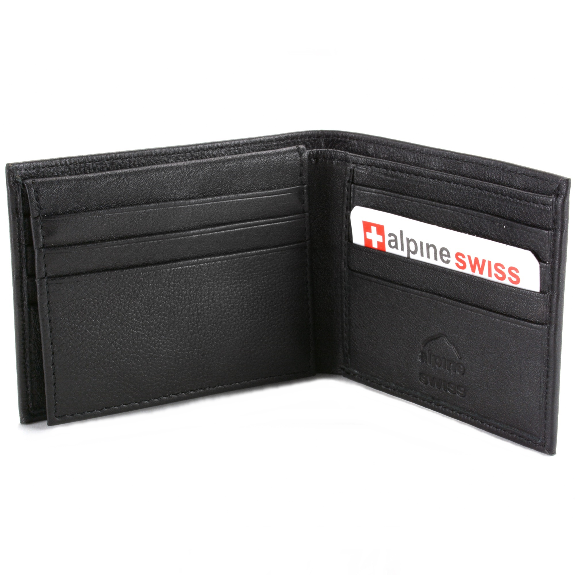 RFID-SAFE-Alpine-Swiss-Mens-Deluxe-Wallet-Genuine-Leather-14-Pocket-ID-Bifold thumbnail 15