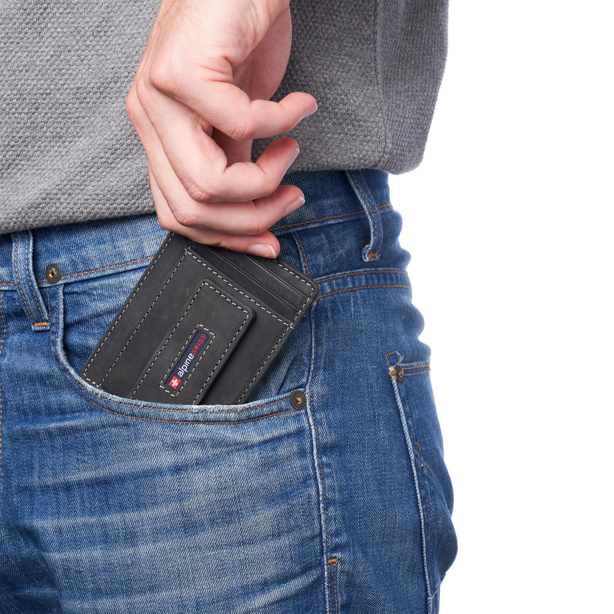 thumbnail 29 - Alpine Swiss Mens RFID Safe Slim Magnetic Money Clip Leather Front Pocket Wallet