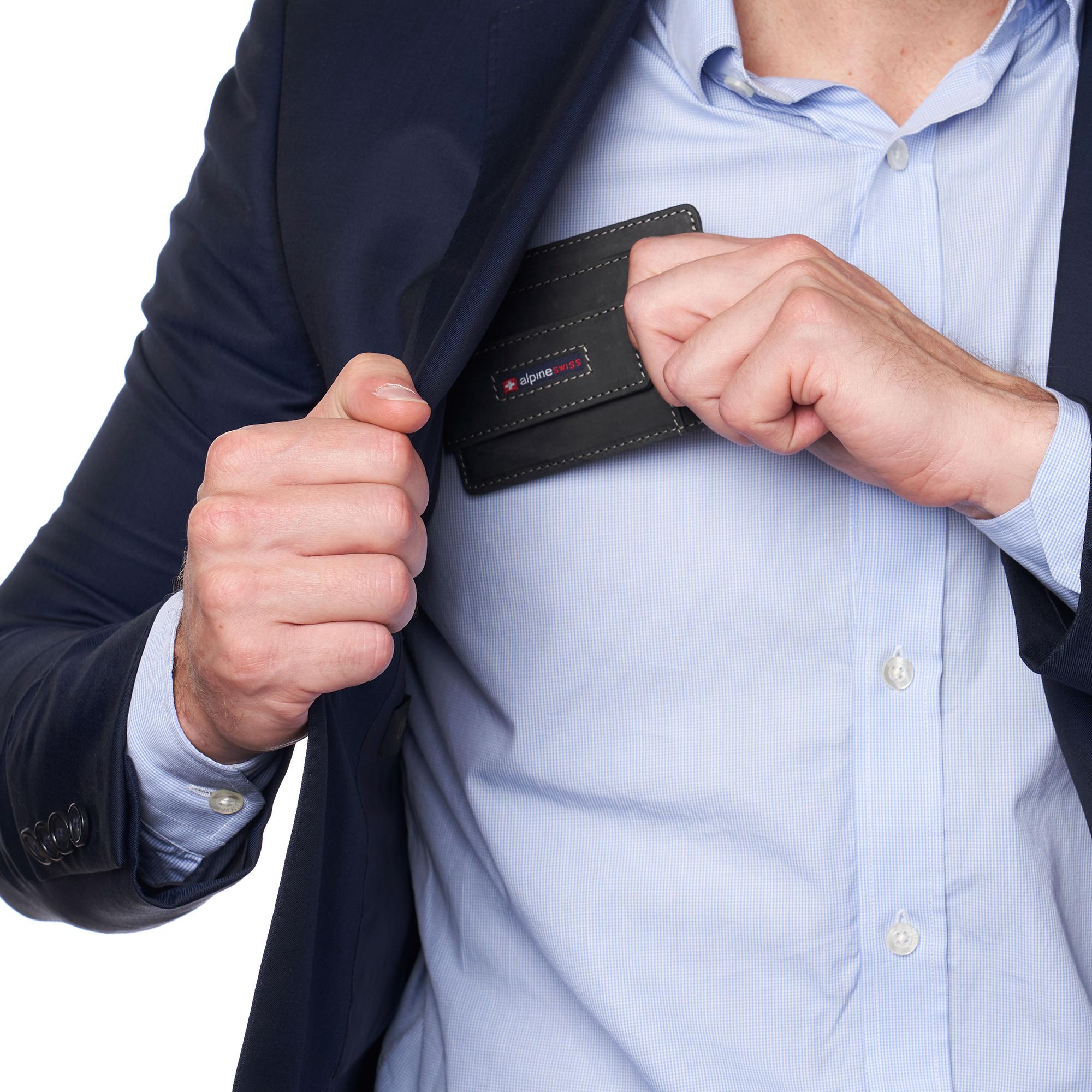 thumbnail 27 - Alpine Swiss Mens RFID Safe Slim Magnetic Money Clip Leather Front Pocket Wallet
