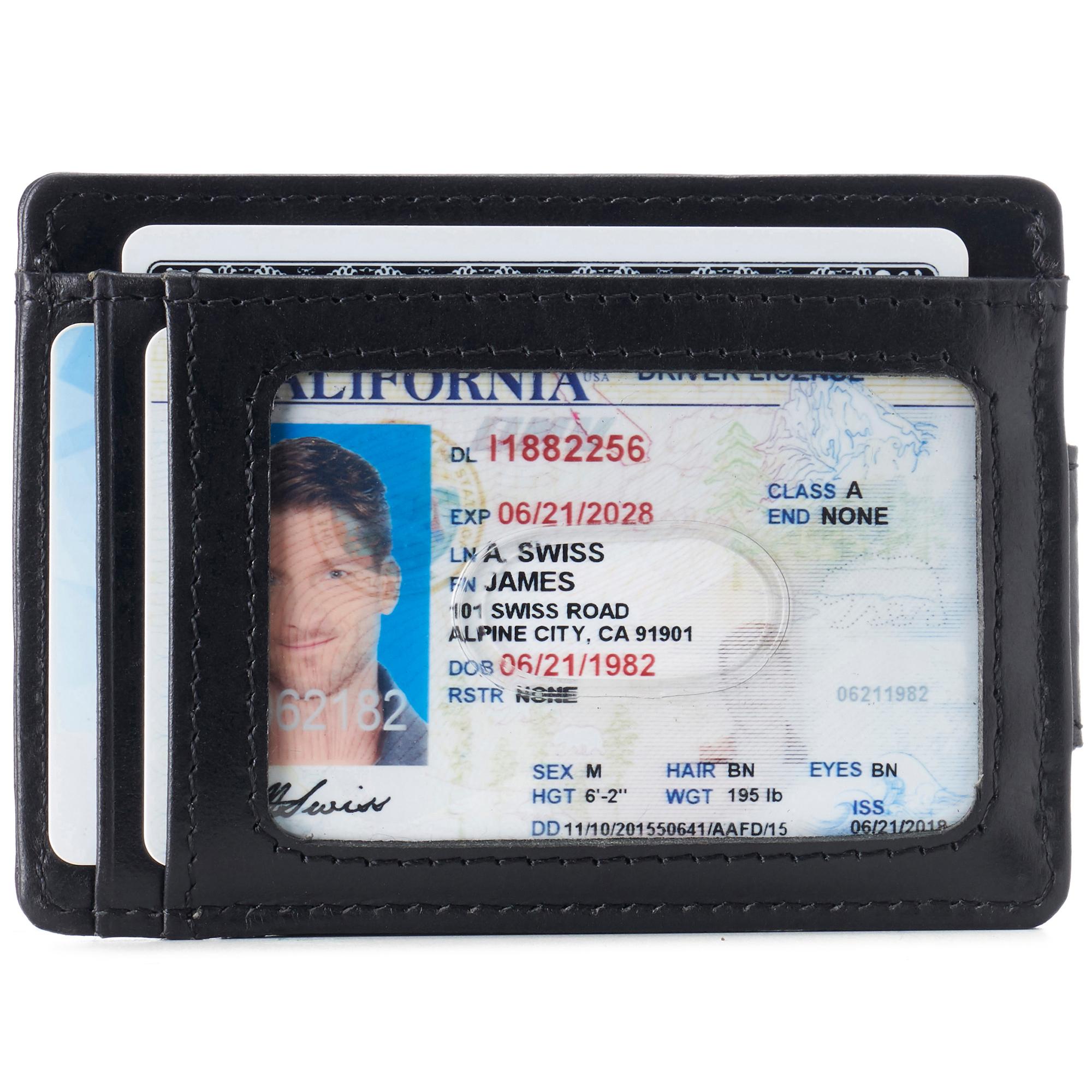 thumbnail 14 - Alpine Swiss Mens RFID Safe Slim Magnetic Money Clip Leather Front Pocket Wallet