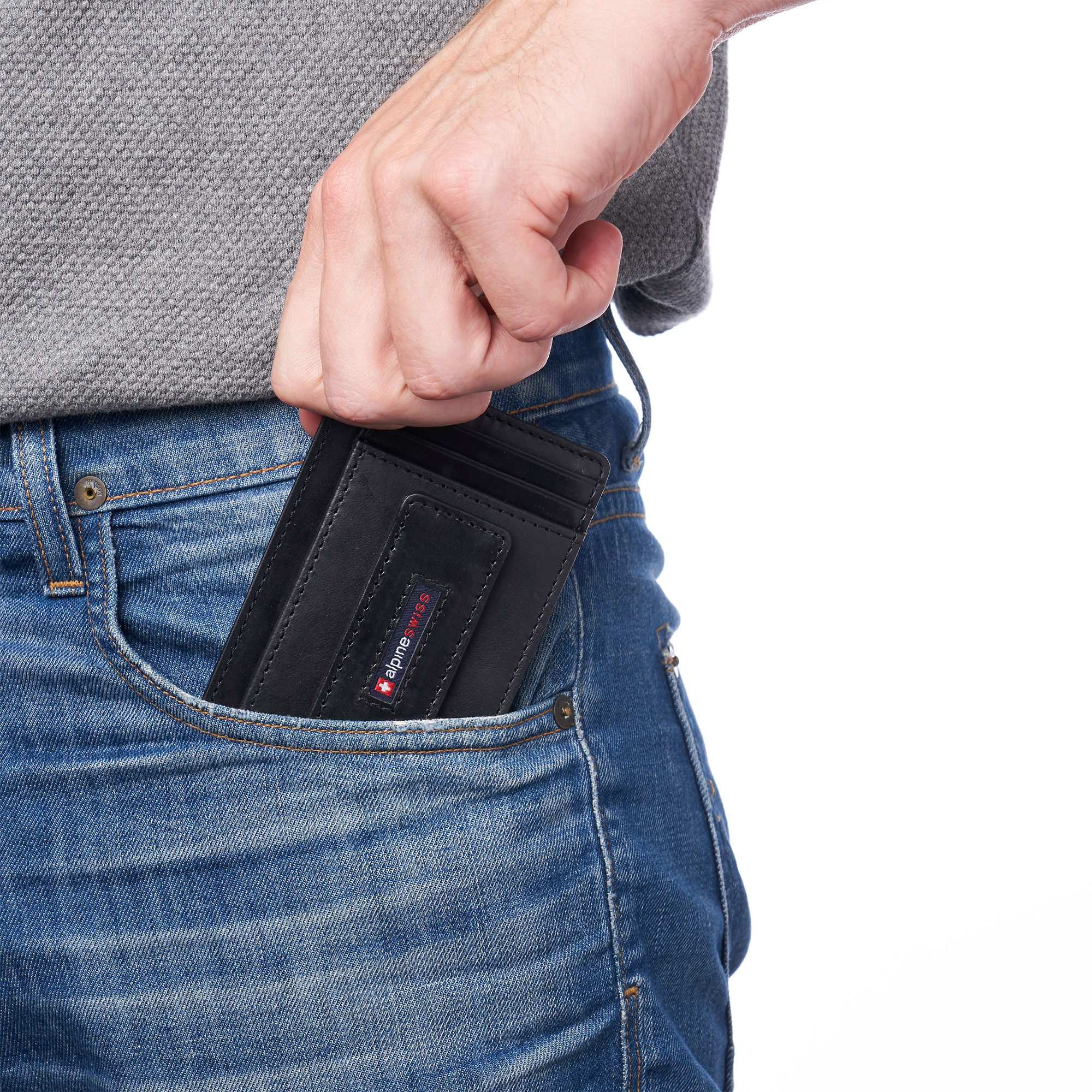 thumbnail 17 - Alpine Swiss Mens RFID Safe Slim Magnetic Money Clip Leather Front Pocket Wallet