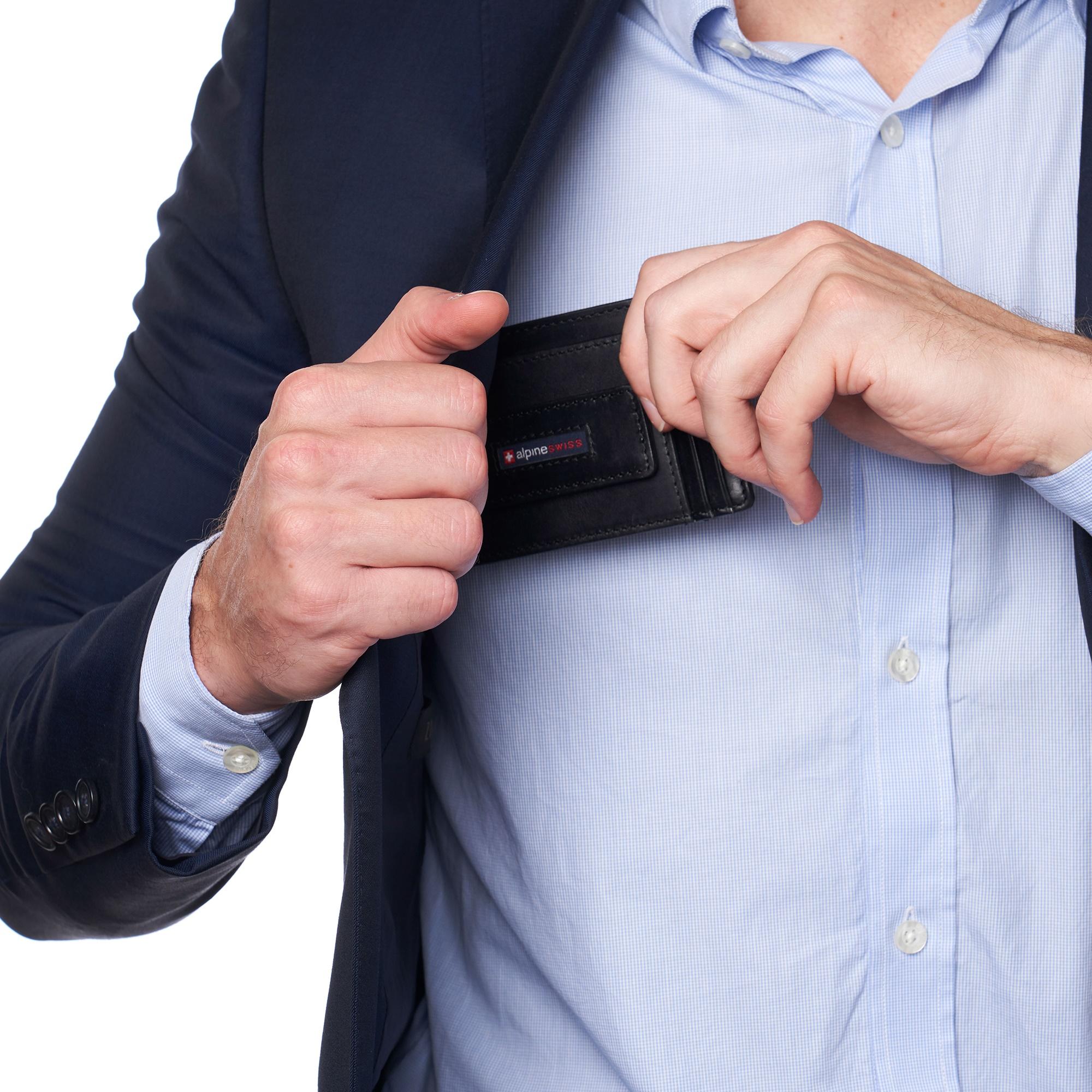 thumbnail 15 - Alpine Swiss Mens RFID Safe Slim Magnetic Money Clip Leather Front Pocket Wallet