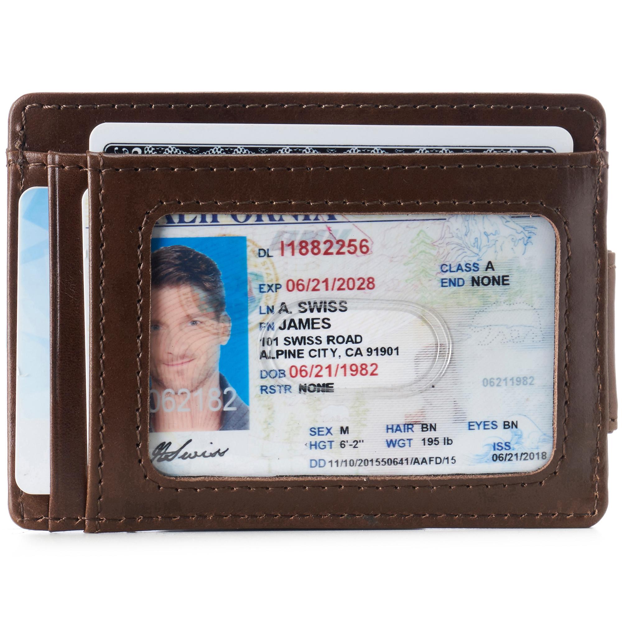 thumbnail 20 - Alpine Swiss Mens RFID Safe Slim Magnetic Money Clip Leather Front Pocket Wallet