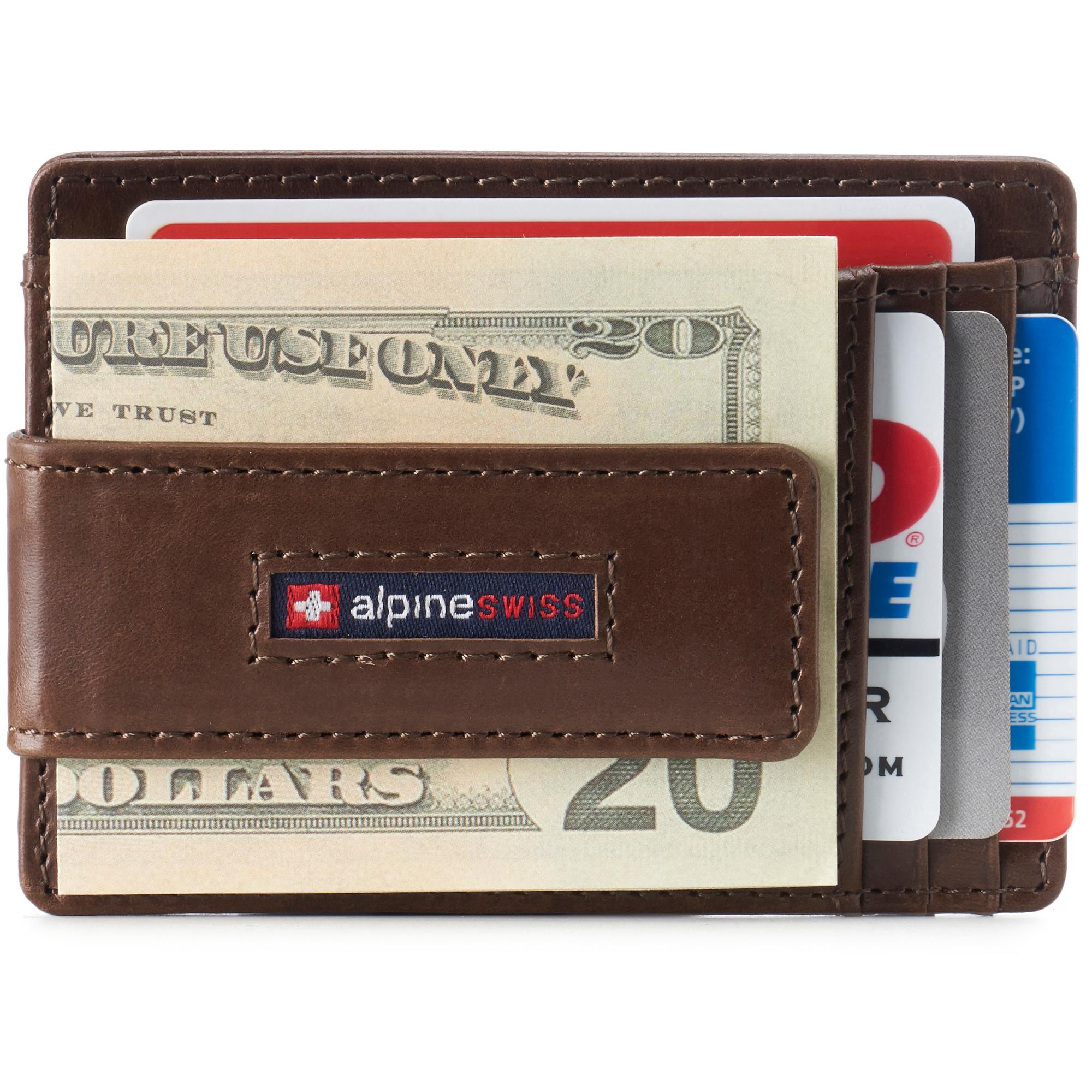 thumbnail 19 - Alpine Swiss Mens RFID Safe Slim Magnetic Money Clip Leather Front Pocket Wallet