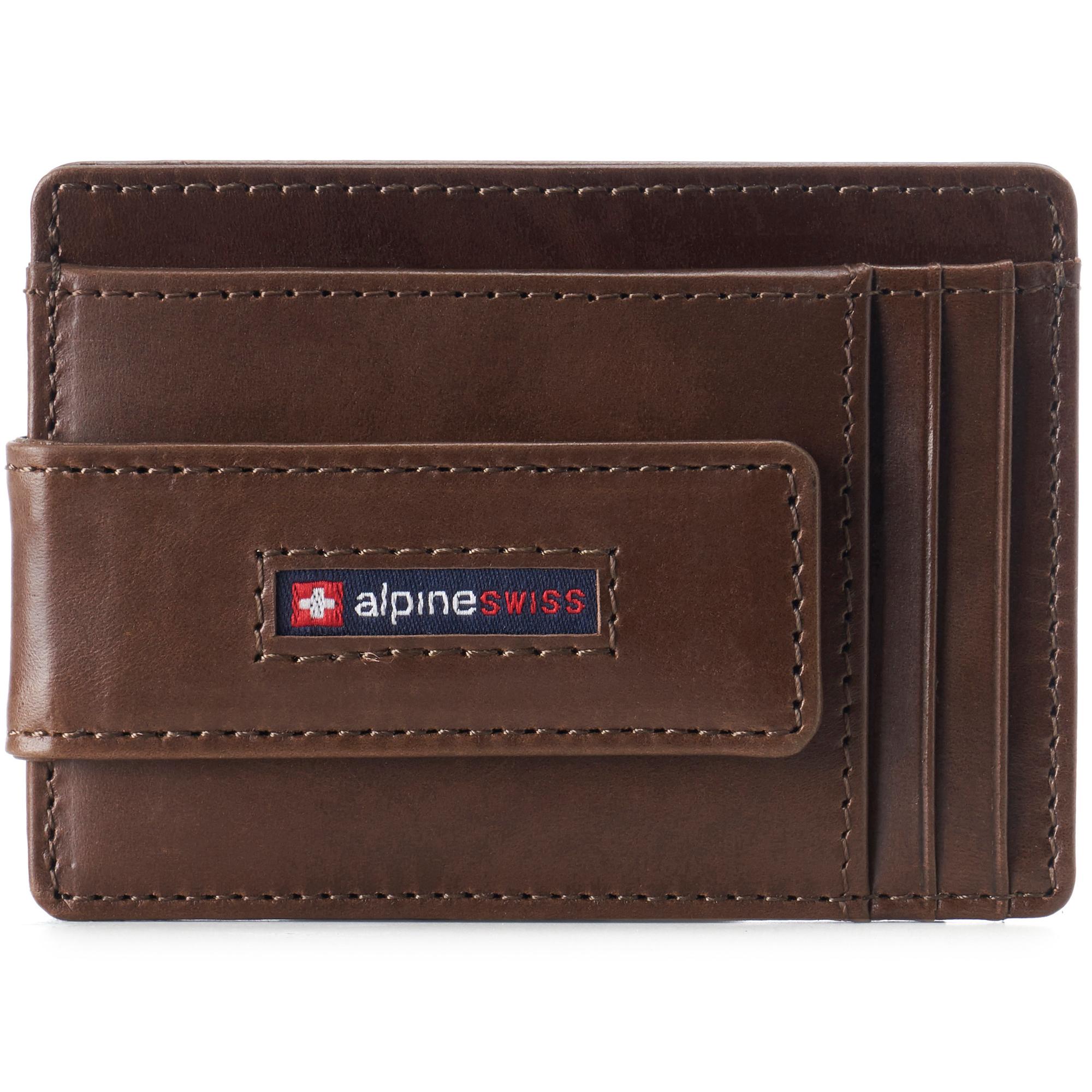 thumbnail 24 - Alpine Swiss Mens RFID Safe Slim Magnetic Money Clip Leather Front Pocket Wallet