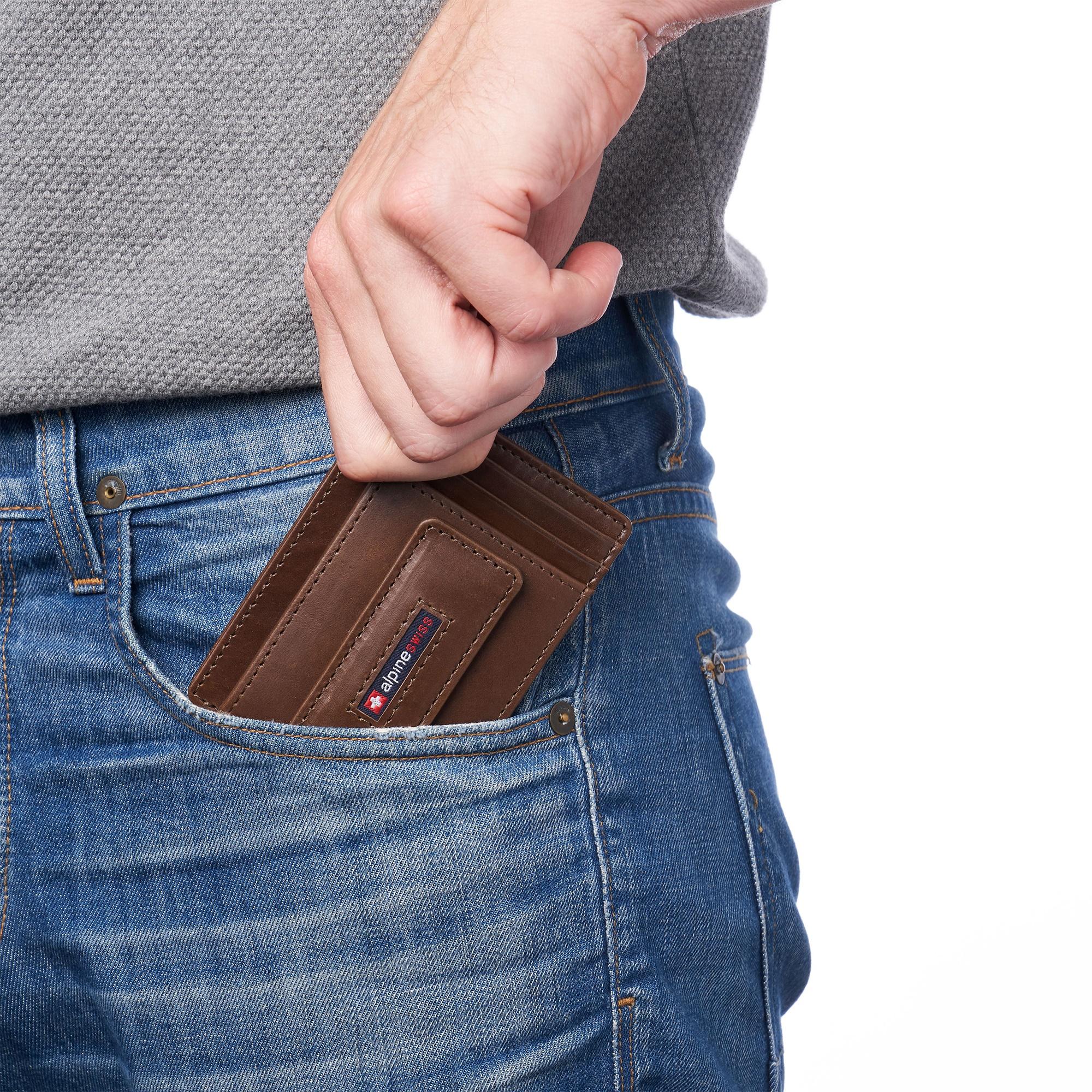 thumbnail 23 - Alpine Swiss Mens RFID Safe Slim Magnetic Money Clip Leather Front Pocket Wallet