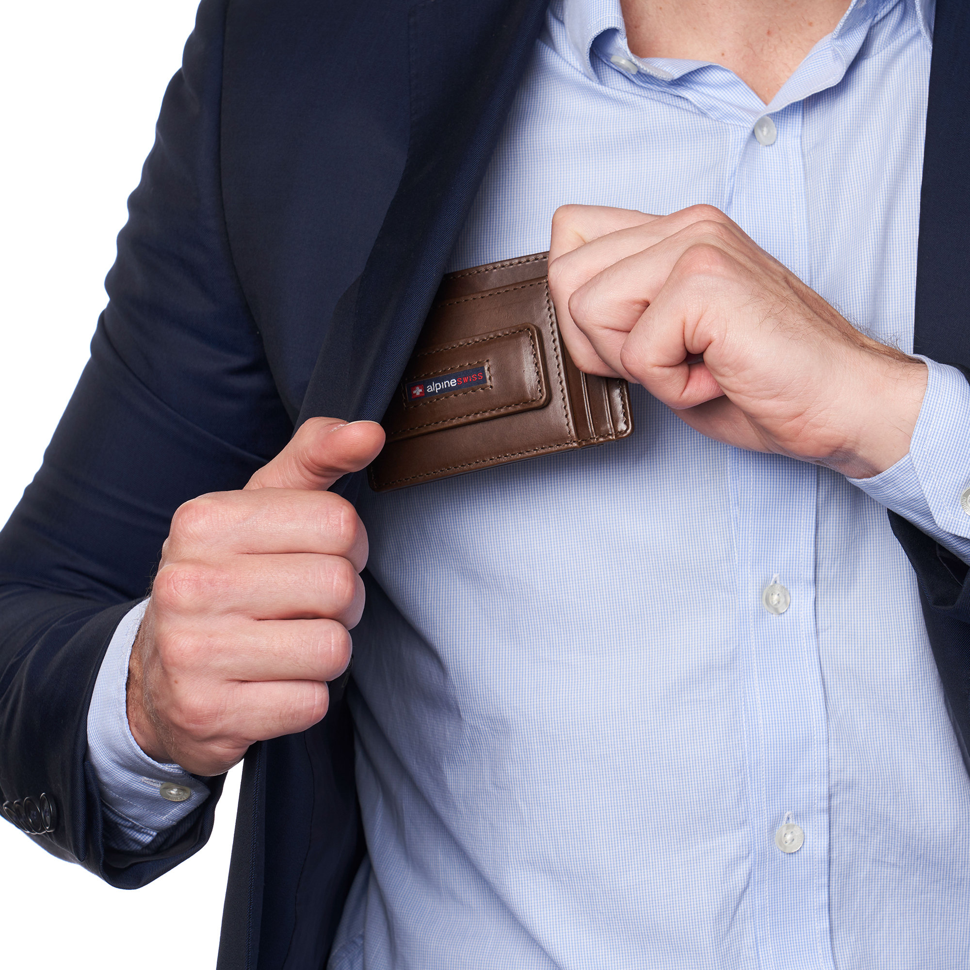 thumbnail 21 - Alpine Swiss Mens RFID Safe Slim Magnetic Money Clip Leather Front Pocket Wallet
