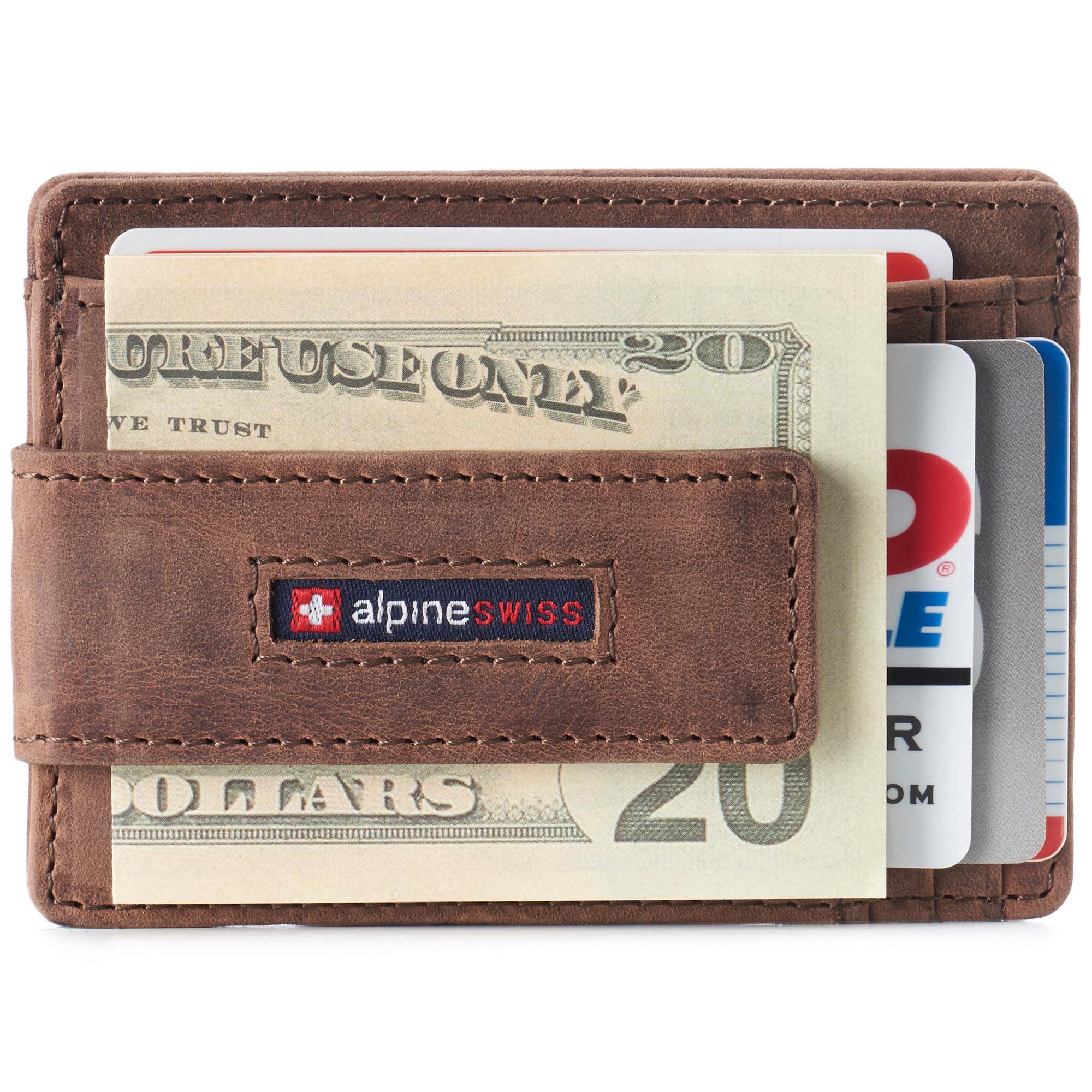 thumbnail 31 - Alpine Swiss Mens RFID Safe Slim Magnetic Money Clip Leather Front Pocket Wallet