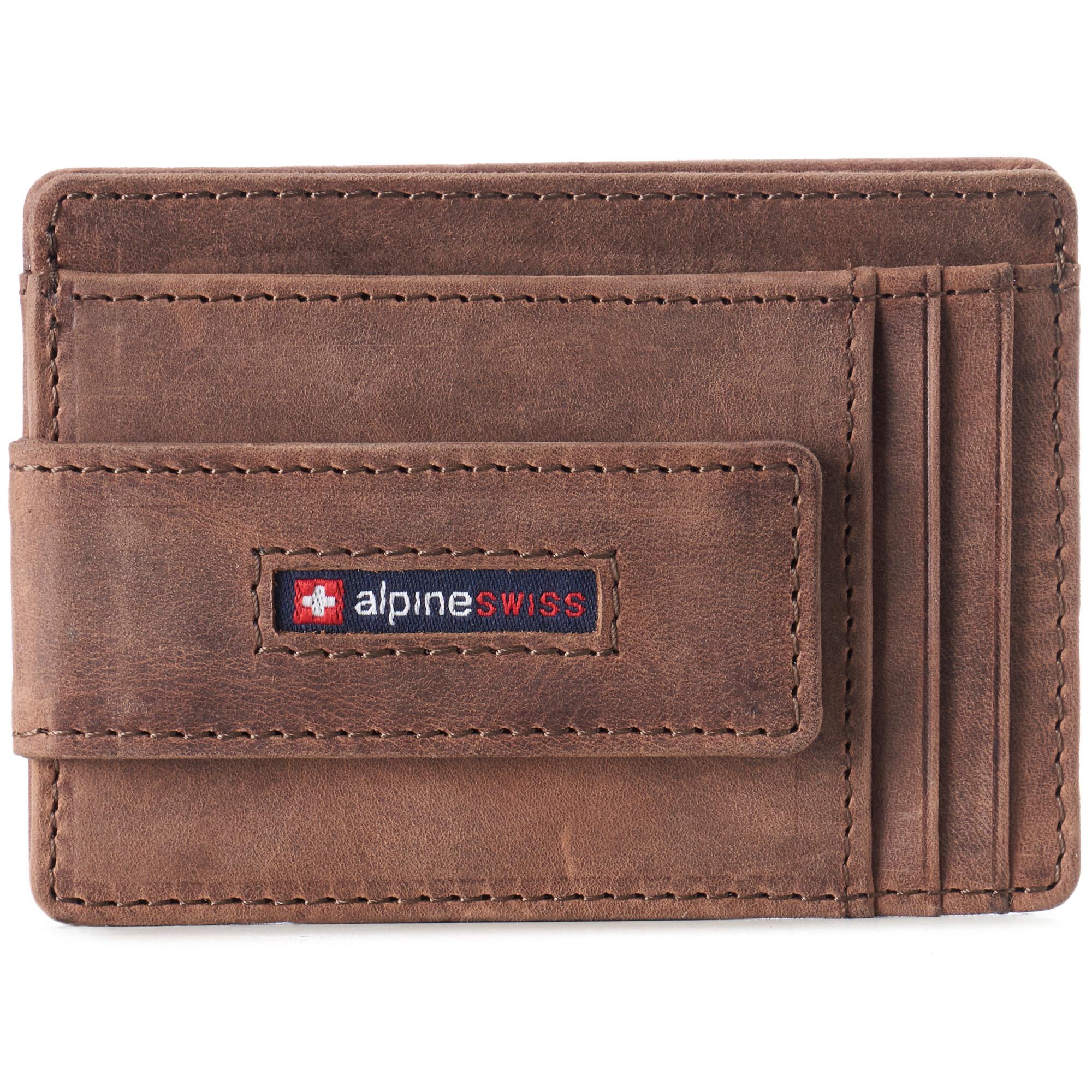 thumbnail 36 - Alpine Swiss Mens RFID Safe Slim Magnetic Money Clip Leather Front Pocket Wallet