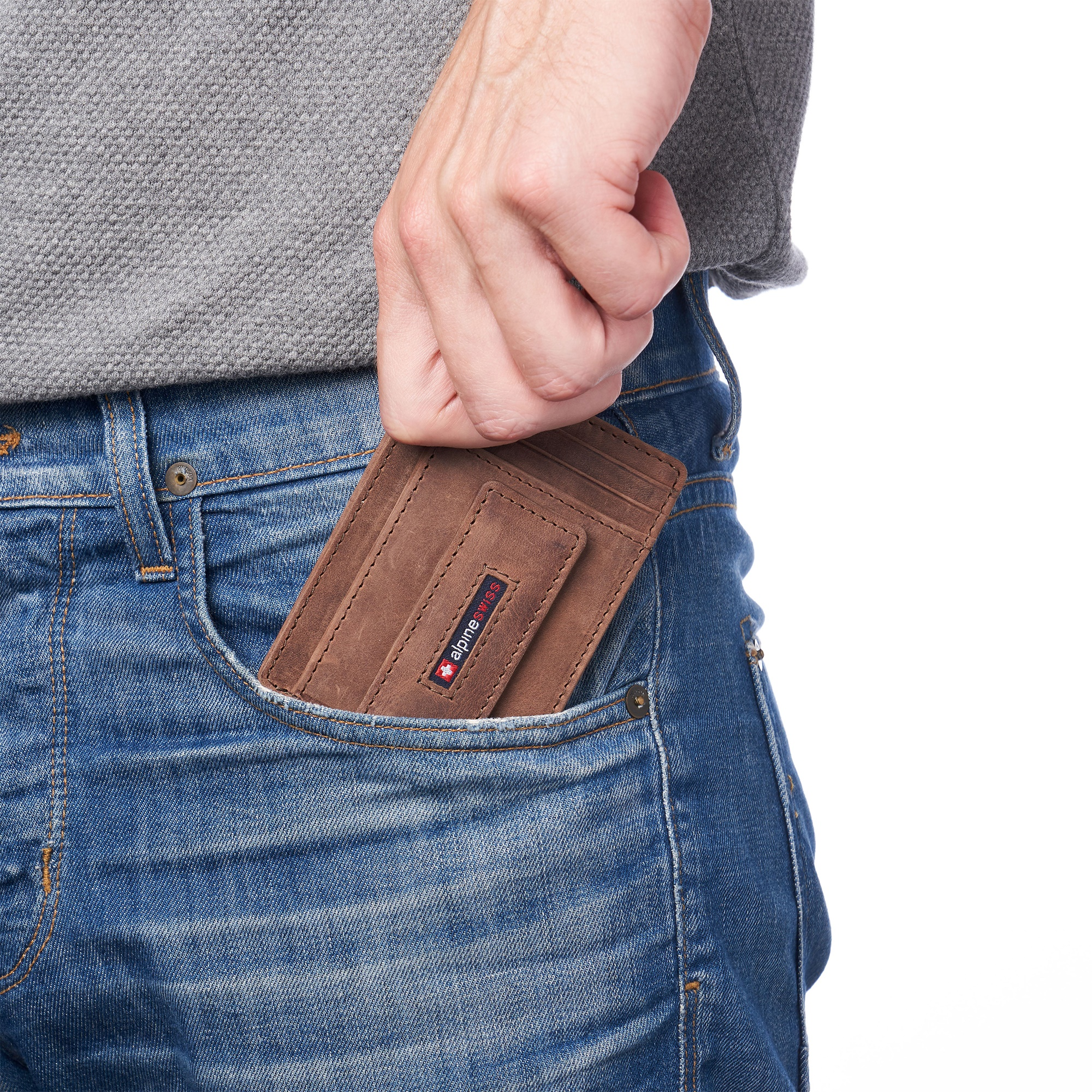 thumbnail 35 - Alpine Swiss Mens RFID Safe Slim Magnetic Money Clip Leather Front Pocket Wallet