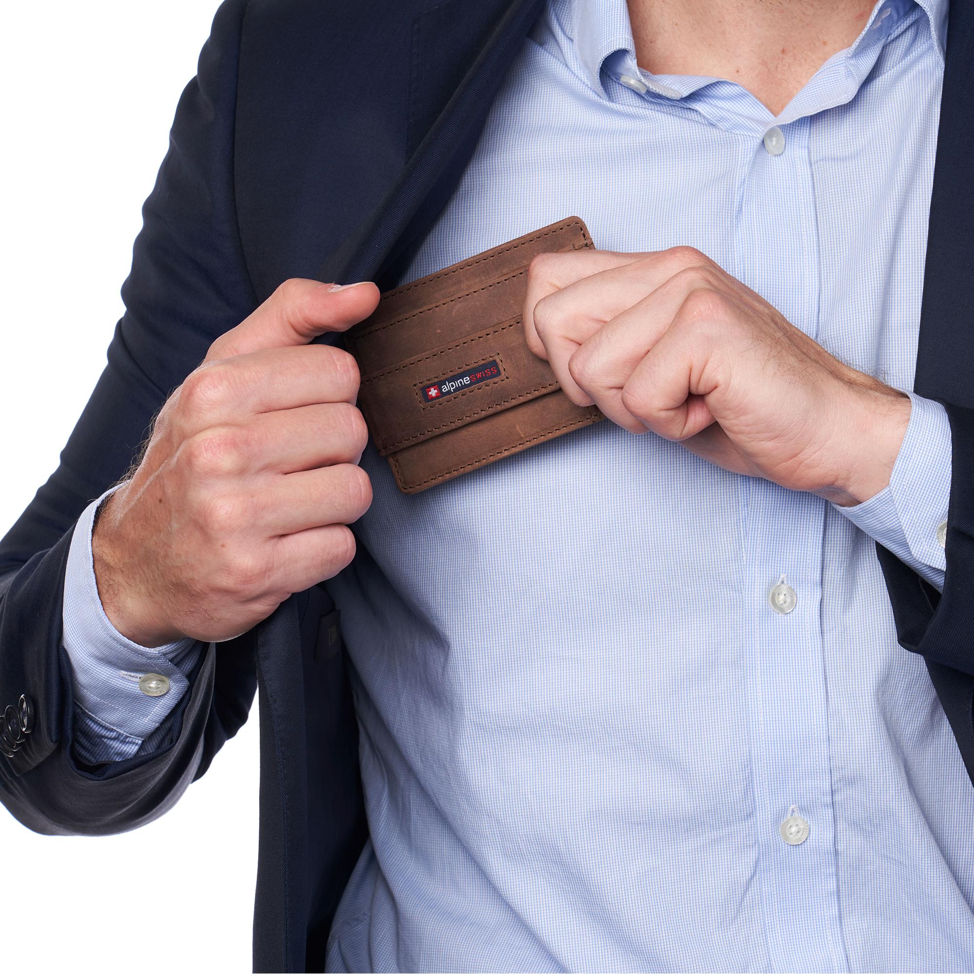 thumbnail 33 - Alpine Swiss Mens RFID Safe Slim Magnetic Money Clip Leather Front Pocket Wallet