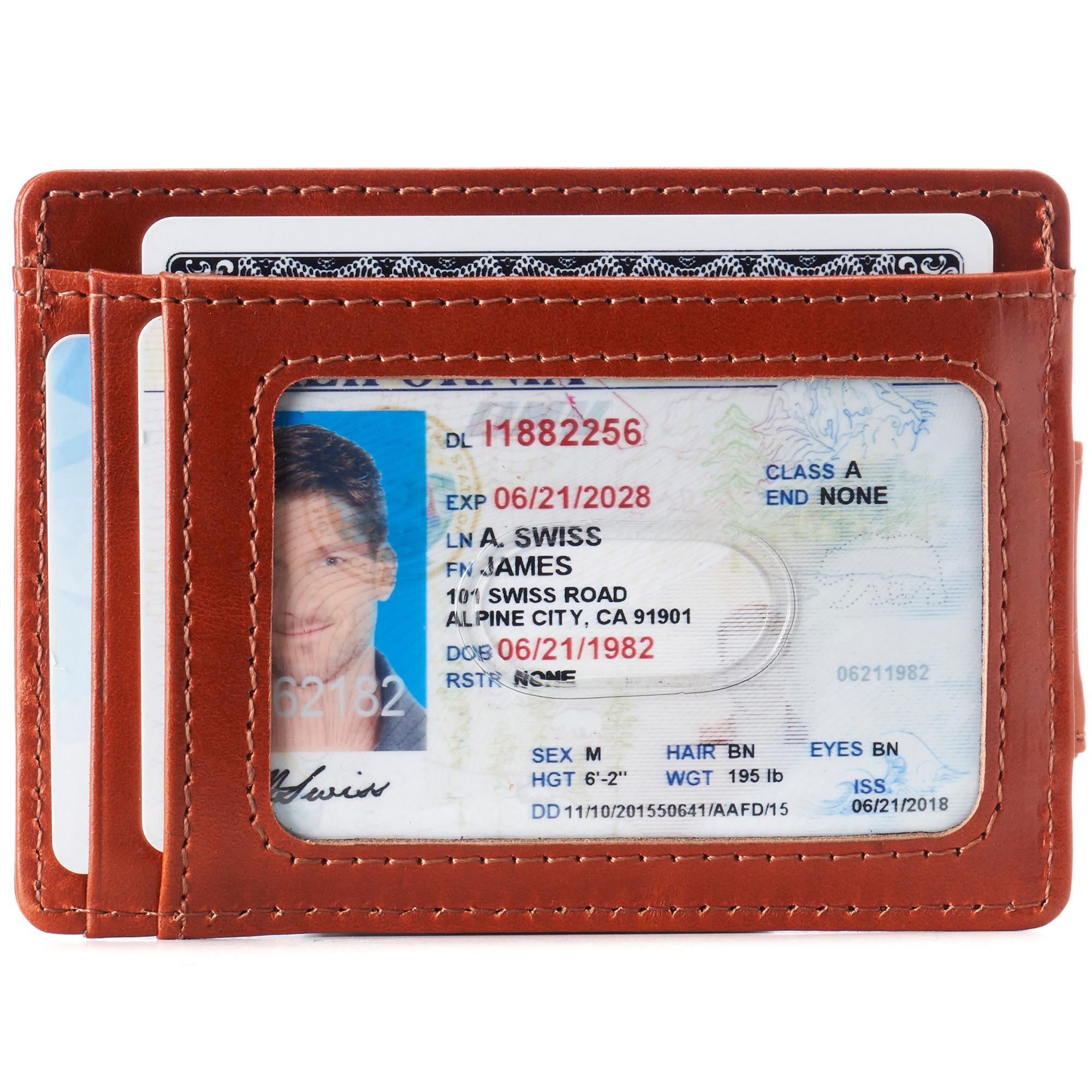 thumbnail 50 - Alpine Swiss Mens RFID Safe Slim Magnetic Money Clip Leather Front Pocket Wallet