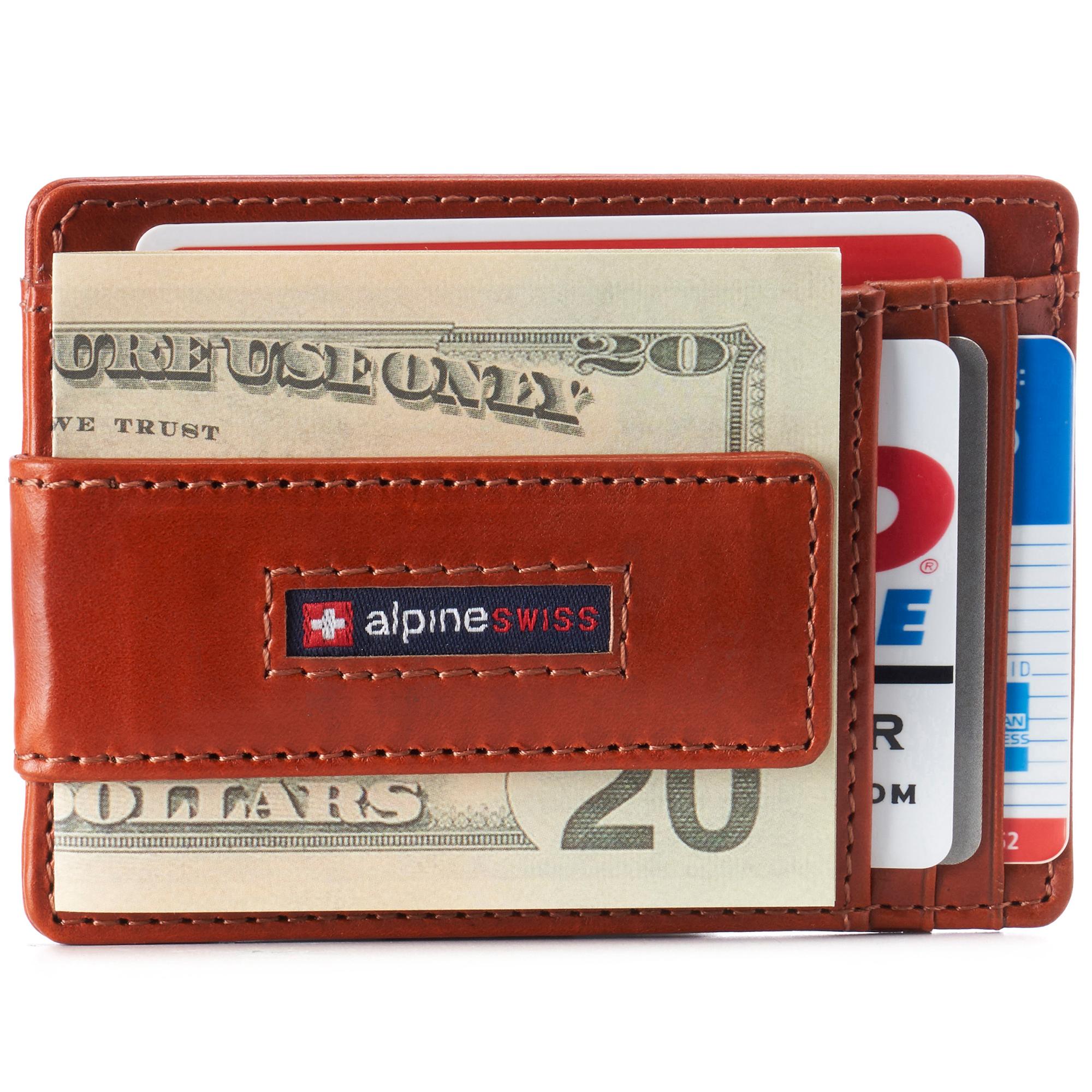thumbnail 49 - Alpine Swiss Mens RFID Safe Slim Magnetic Money Clip Leather Front Pocket Wallet