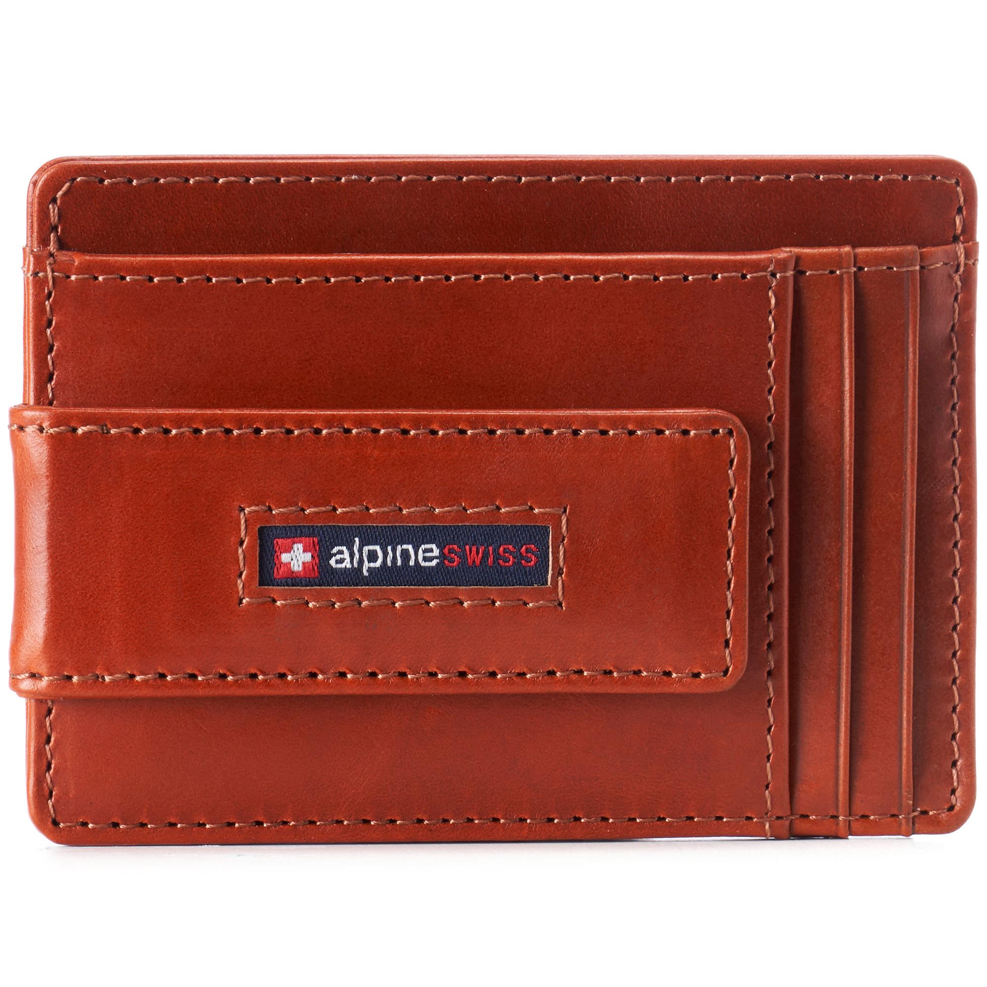 thumbnail 54 - Alpine Swiss Mens RFID Safe Slim Magnetic Money Clip Leather Front Pocket Wallet