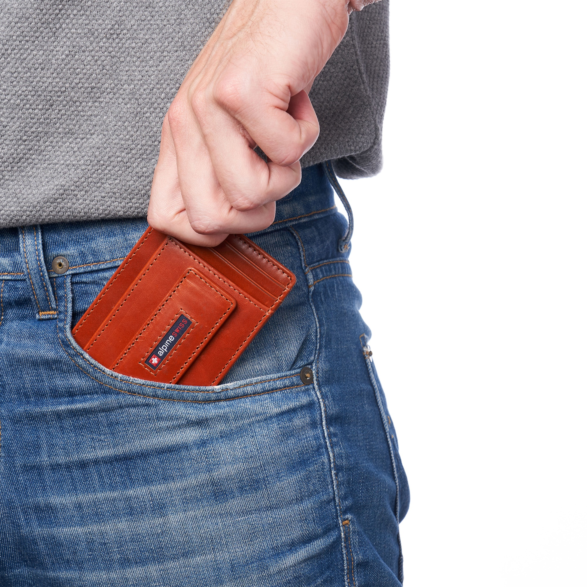 thumbnail 53 - Alpine Swiss Mens RFID Safe Slim Magnetic Money Clip Leather Front Pocket Wallet