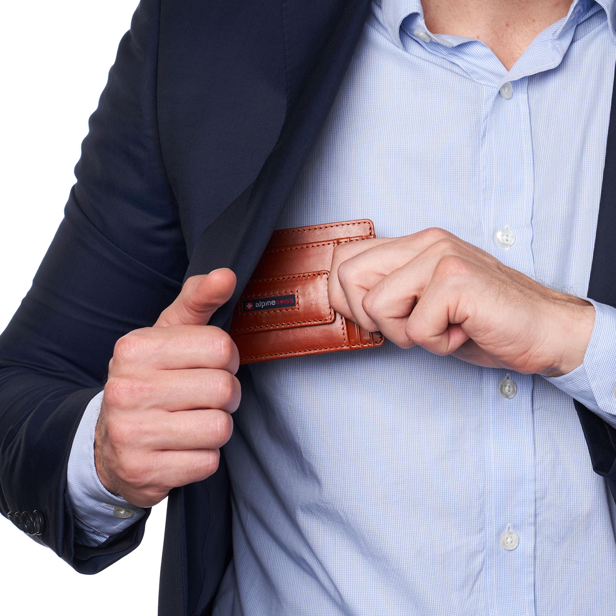 thumbnail 51 - Alpine Swiss Mens RFID Safe Slim Magnetic Money Clip Leather Front Pocket Wallet