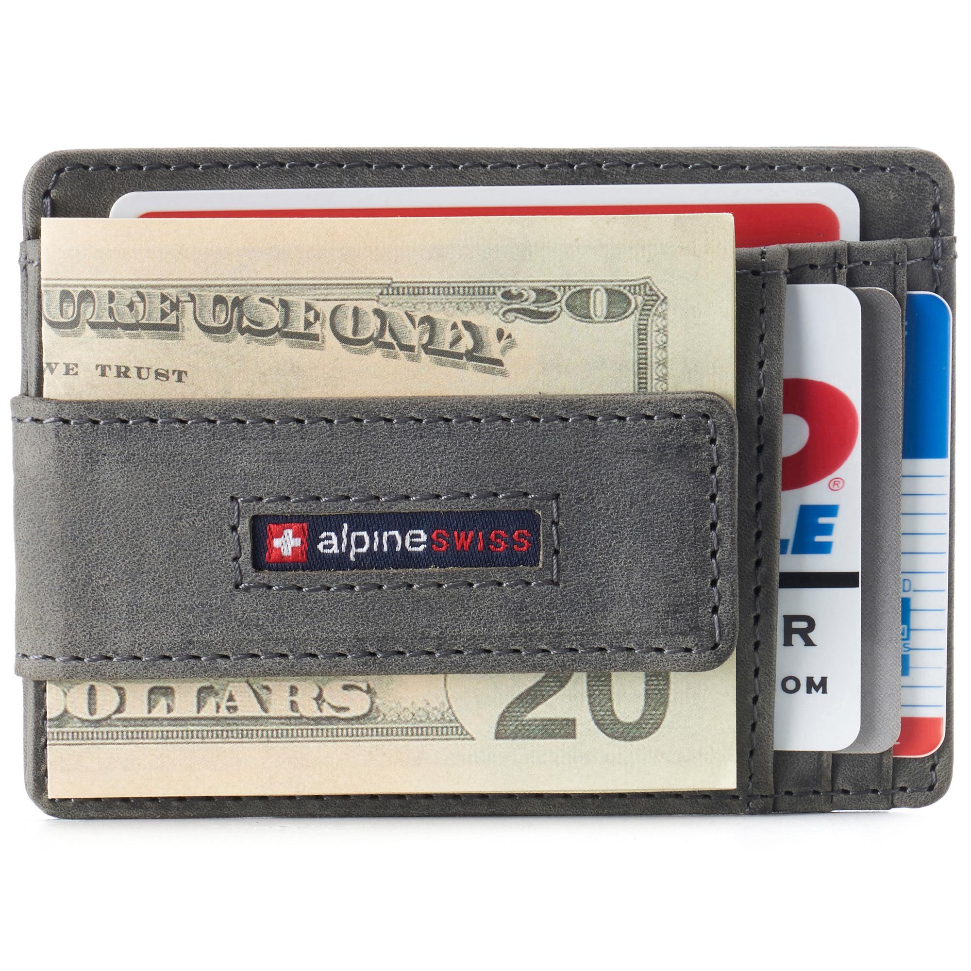 thumbnail 37 - Alpine Swiss Mens RFID Safe Slim Magnetic Money Clip Leather Front Pocket Wallet
