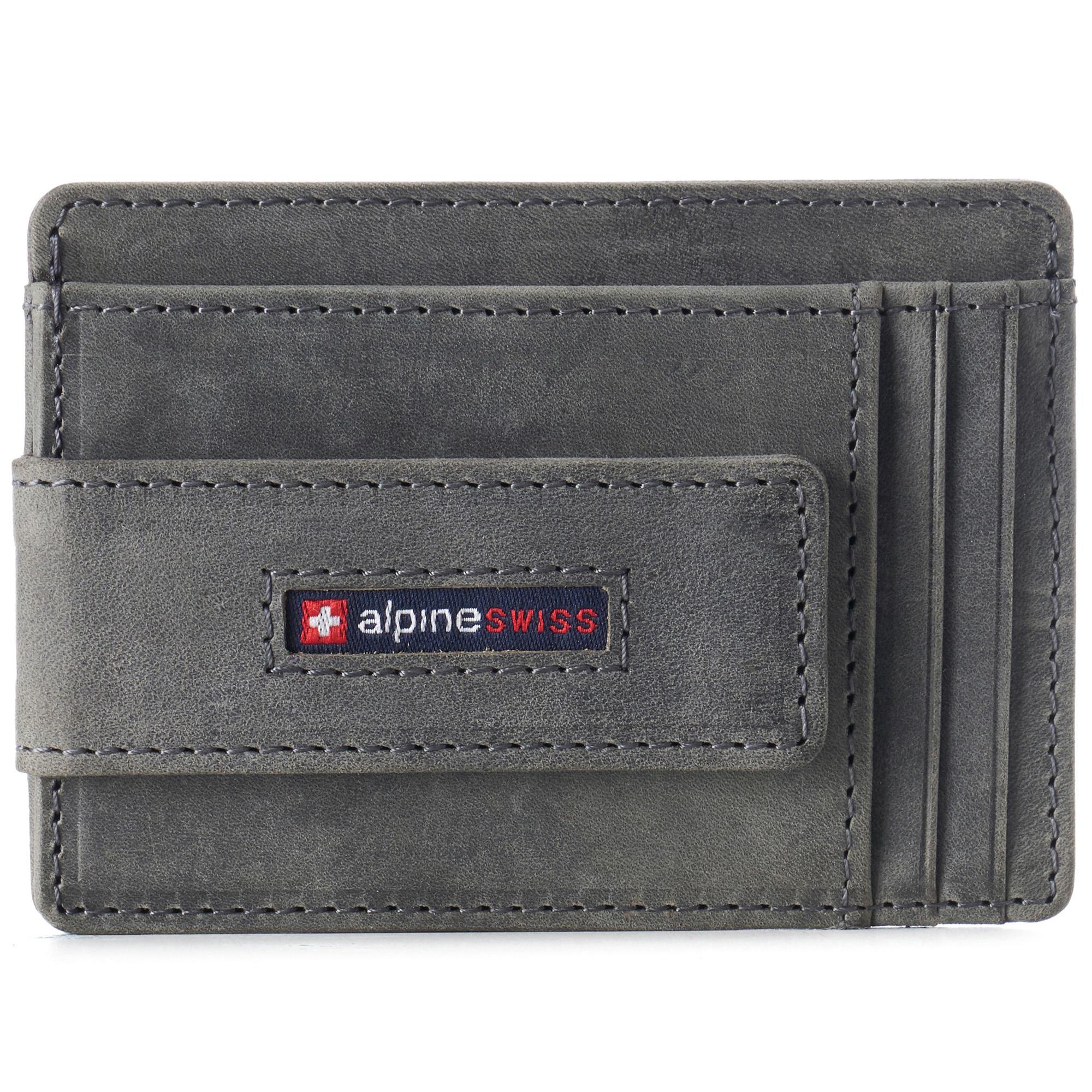 thumbnail 42 - Alpine Swiss Mens RFID Safe Slim Magnetic Money Clip Leather Front Pocket Wallet