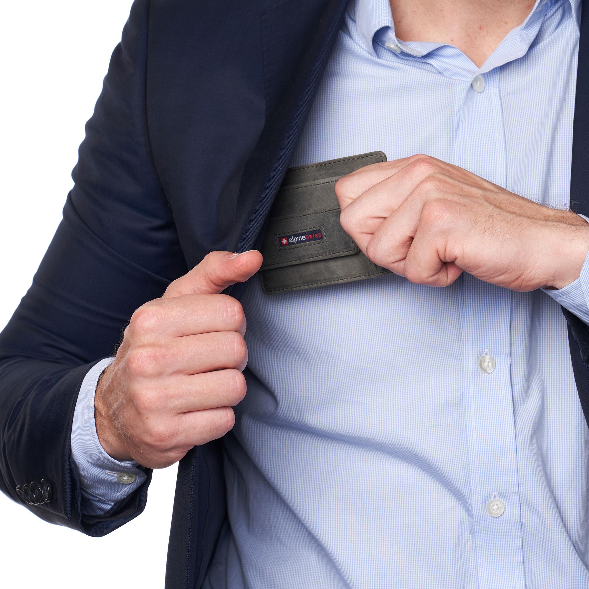 thumbnail 39 - Alpine Swiss Mens RFID Safe Slim Magnetic Money Clip Leather Front Pocket Wallet