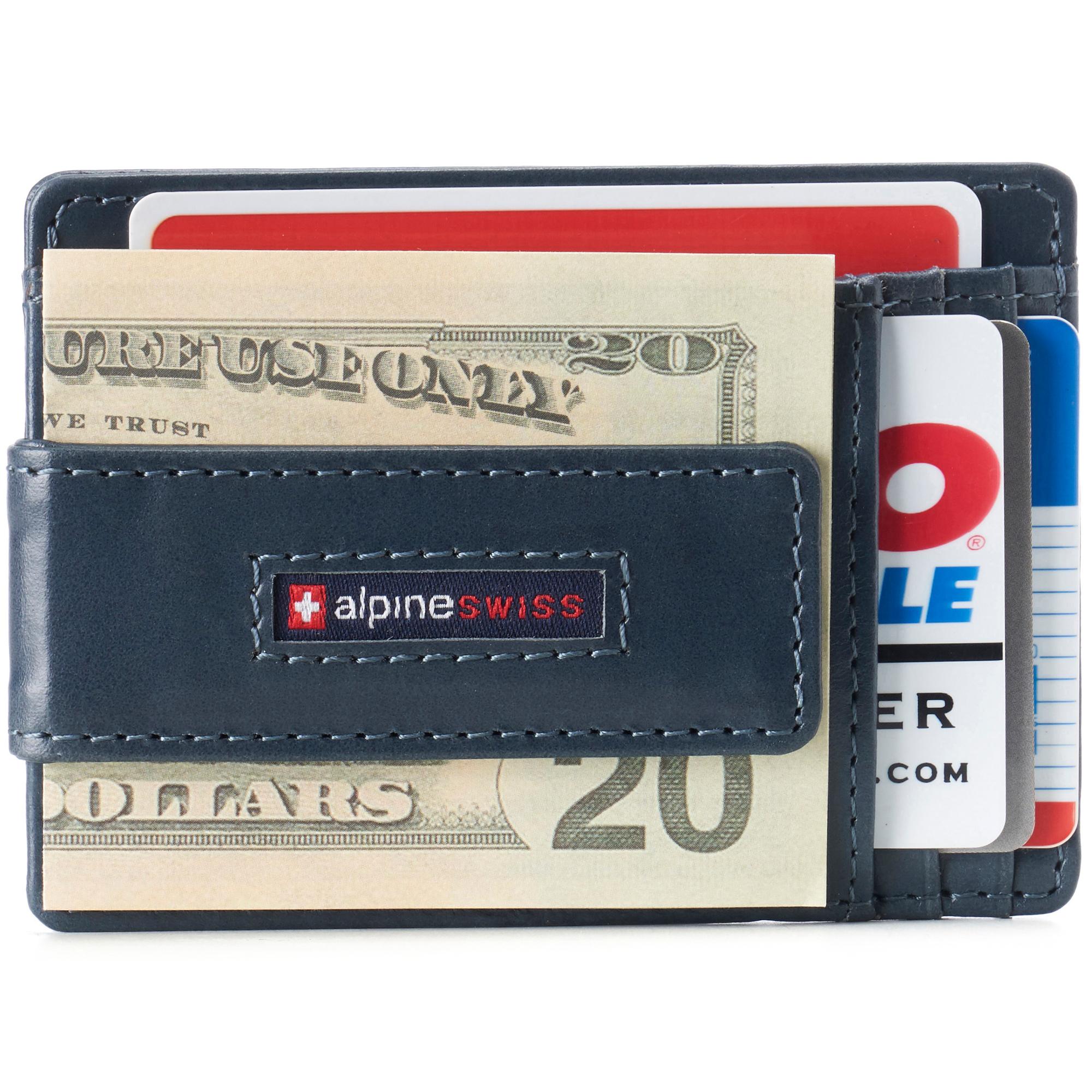 thumbnail 55 - Alpine Swiss Mens RFID Safe Slim Magnetic Money Clip Leather Front Pocket Wallet