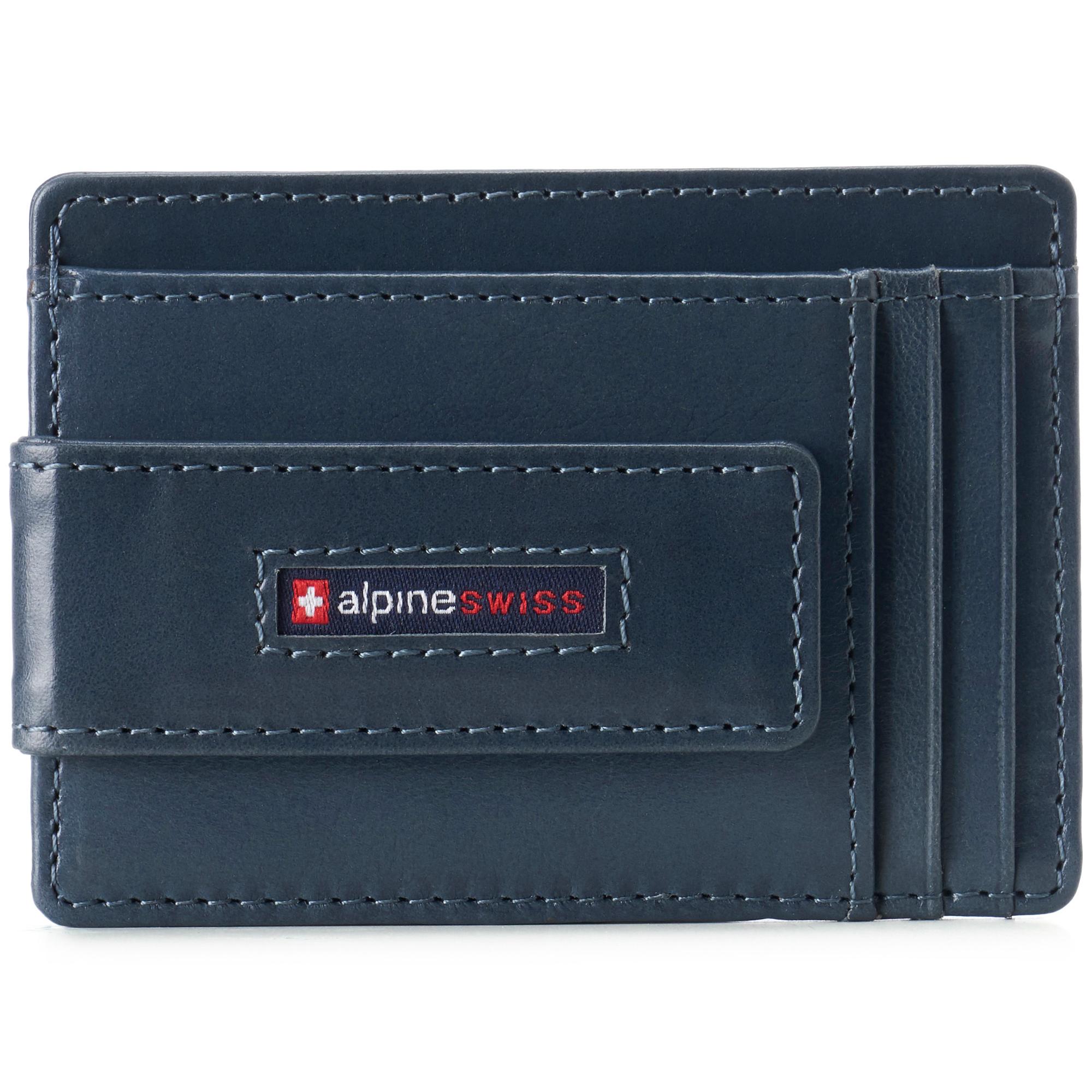 thumbnail 60 - Alpine Swiss Mens RFID Safe Slim Magnetic Money Clip Leather Front Pocket Wallet