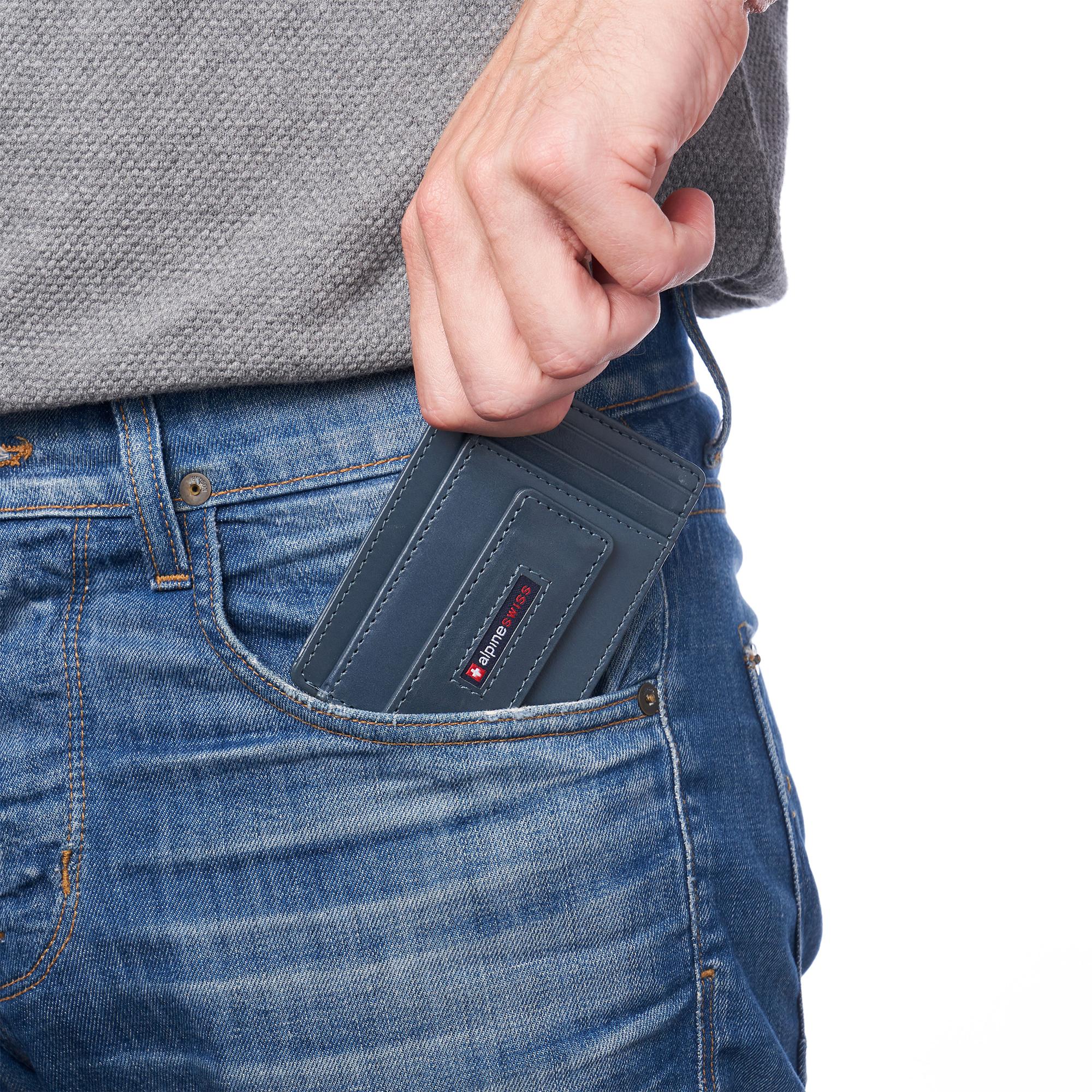 thumbnail 59 - Alpine Swiss Mens RFID Safe Slim Magnetic Money Clip Leather Front Pocket Wallet