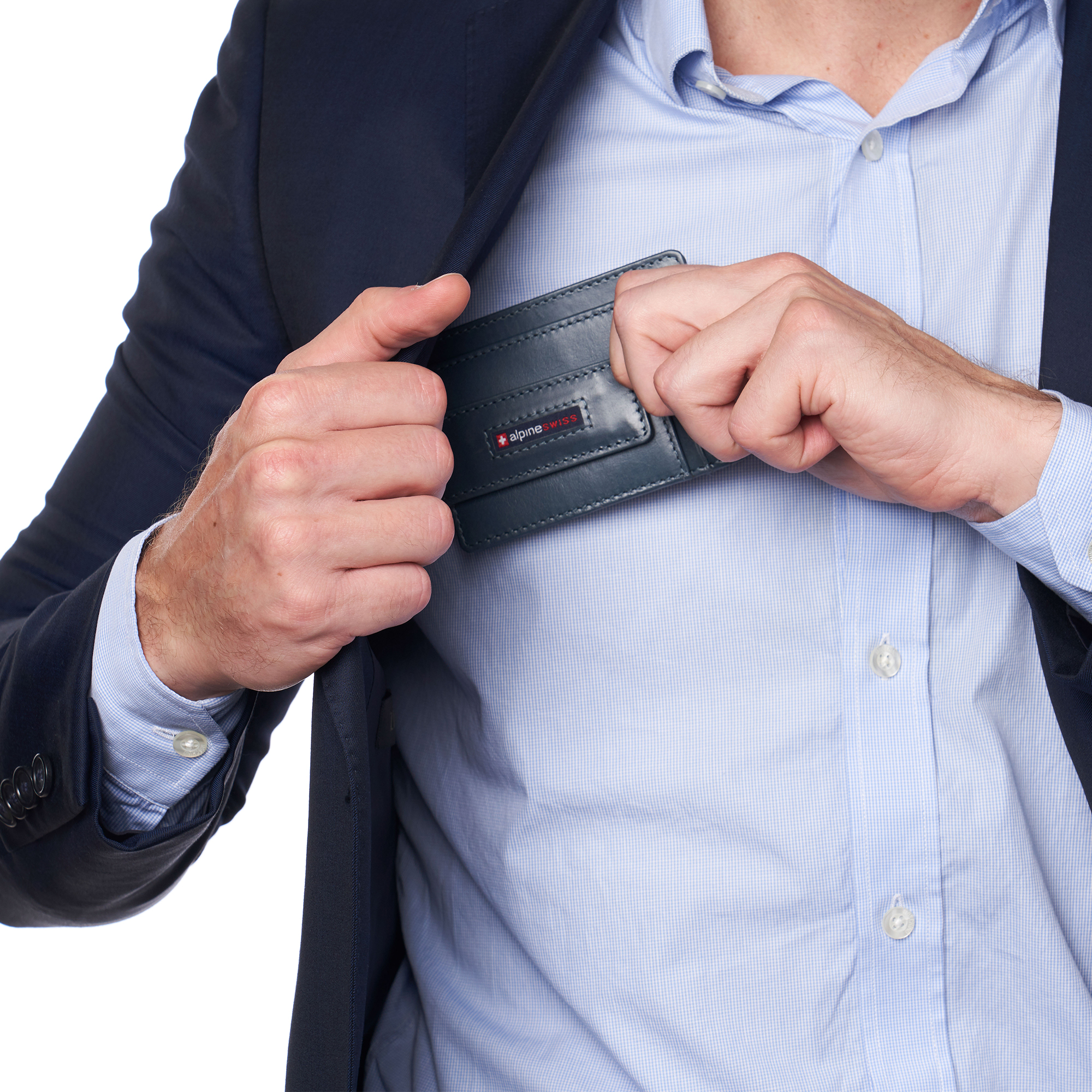 thumbnail 57 - Alpine Swiss Mens RFID Safe Slim Magnetic Money Clip Leather Front Pocket Wallet